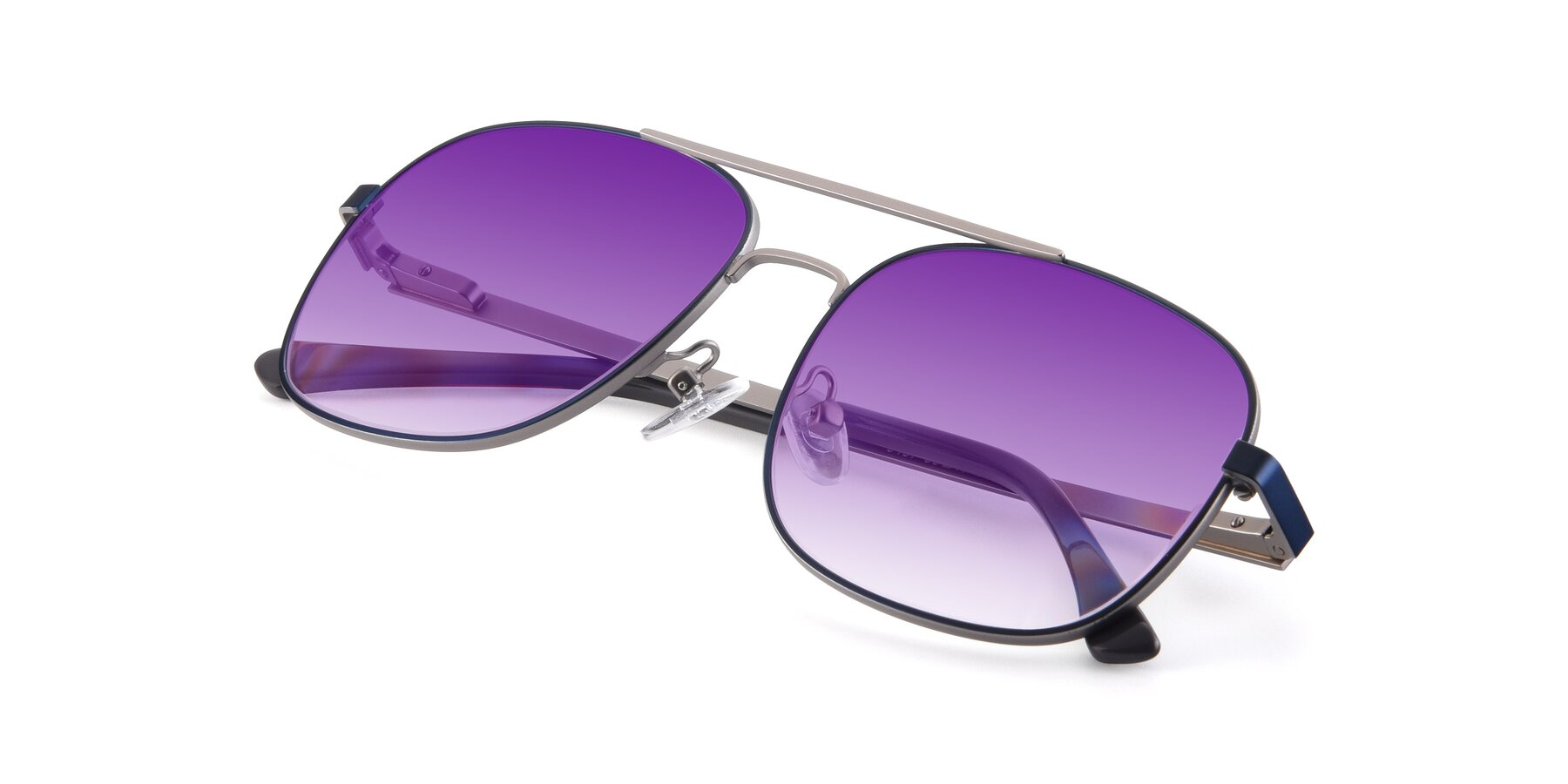 View of 9487 in Blue-Silver with Purple Gradient Lenses