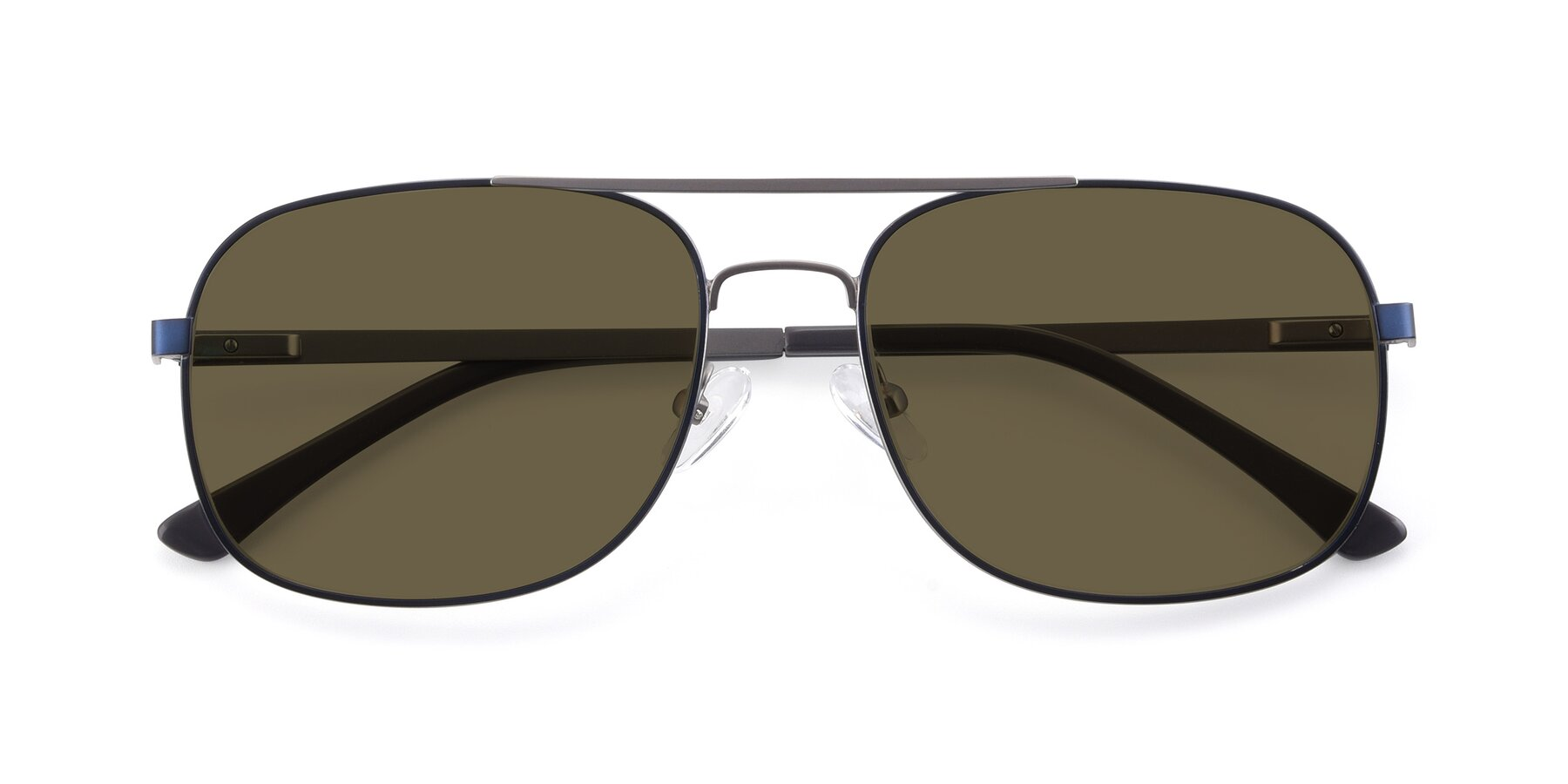Folded Front of 9487 in Blue-Silver with Brown Polarized Lenses