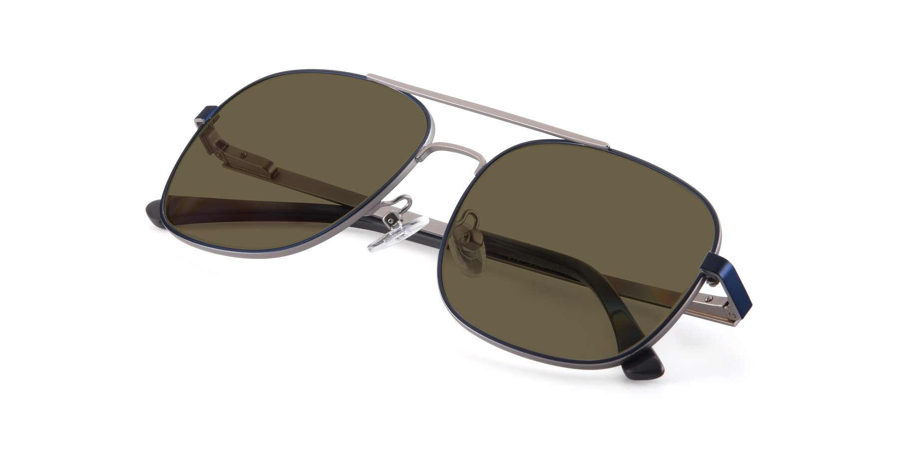 View of 9487 in Blue-Silver with Brown Polarized Lenses