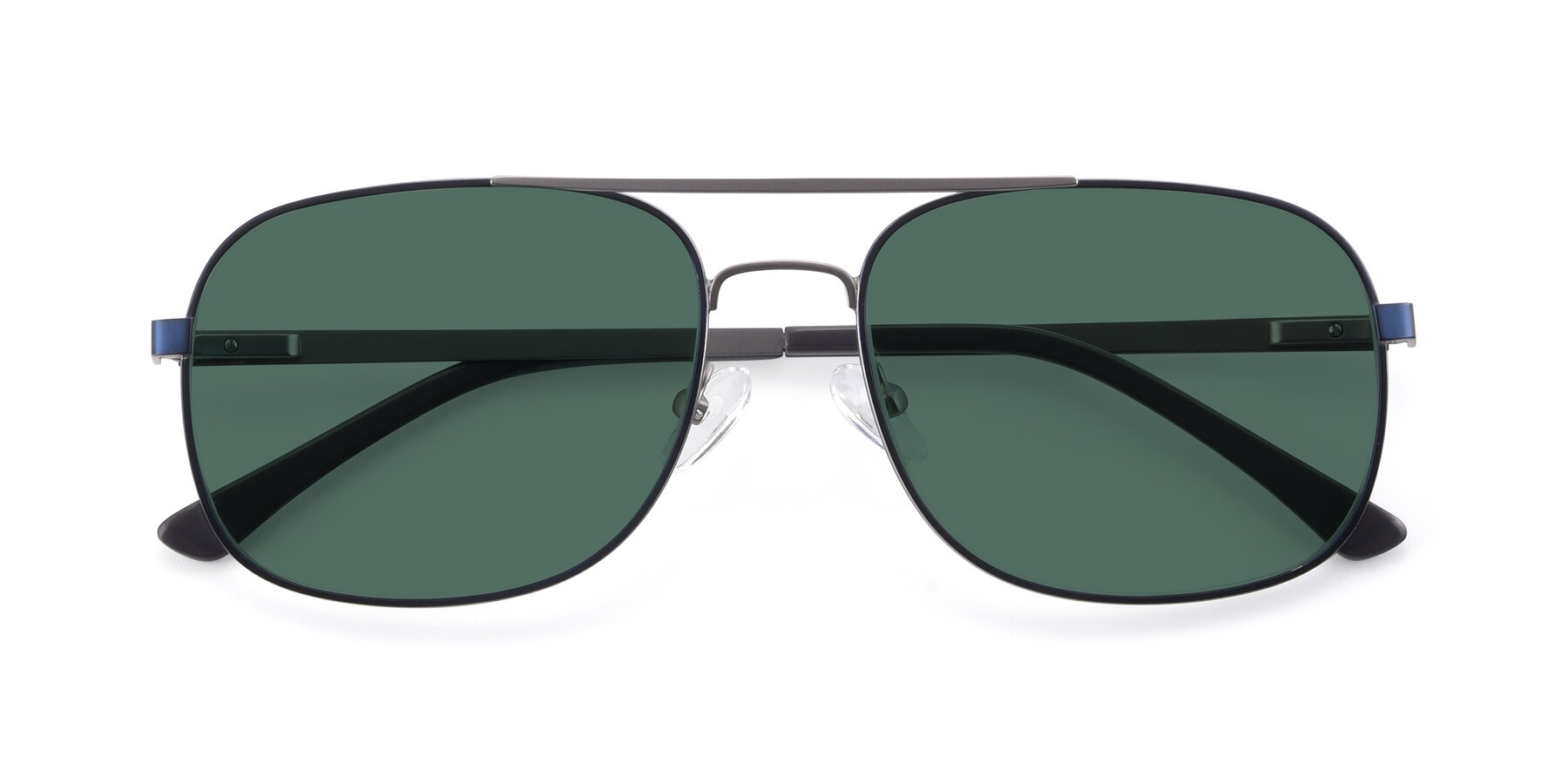 Folded Front of 9487 in Blue-Silver with Green Polarized Lenses