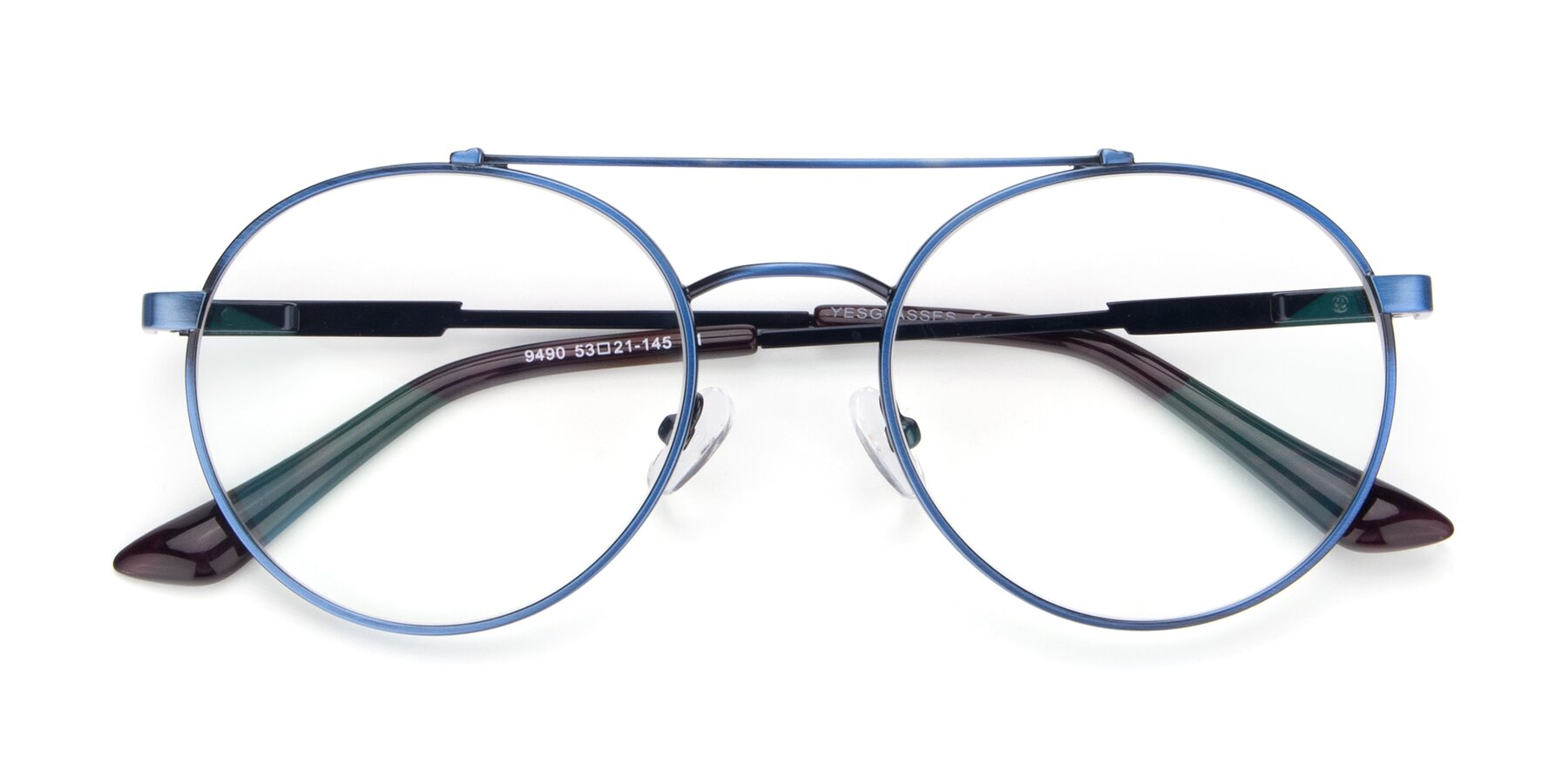 Folded Front of 9490 in Antique Blue with Clear Eyeglass Lenses