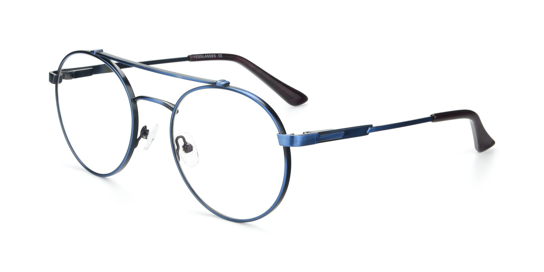 Angle of 9490 in Antique Blue with Clear Eyeglass Lenses