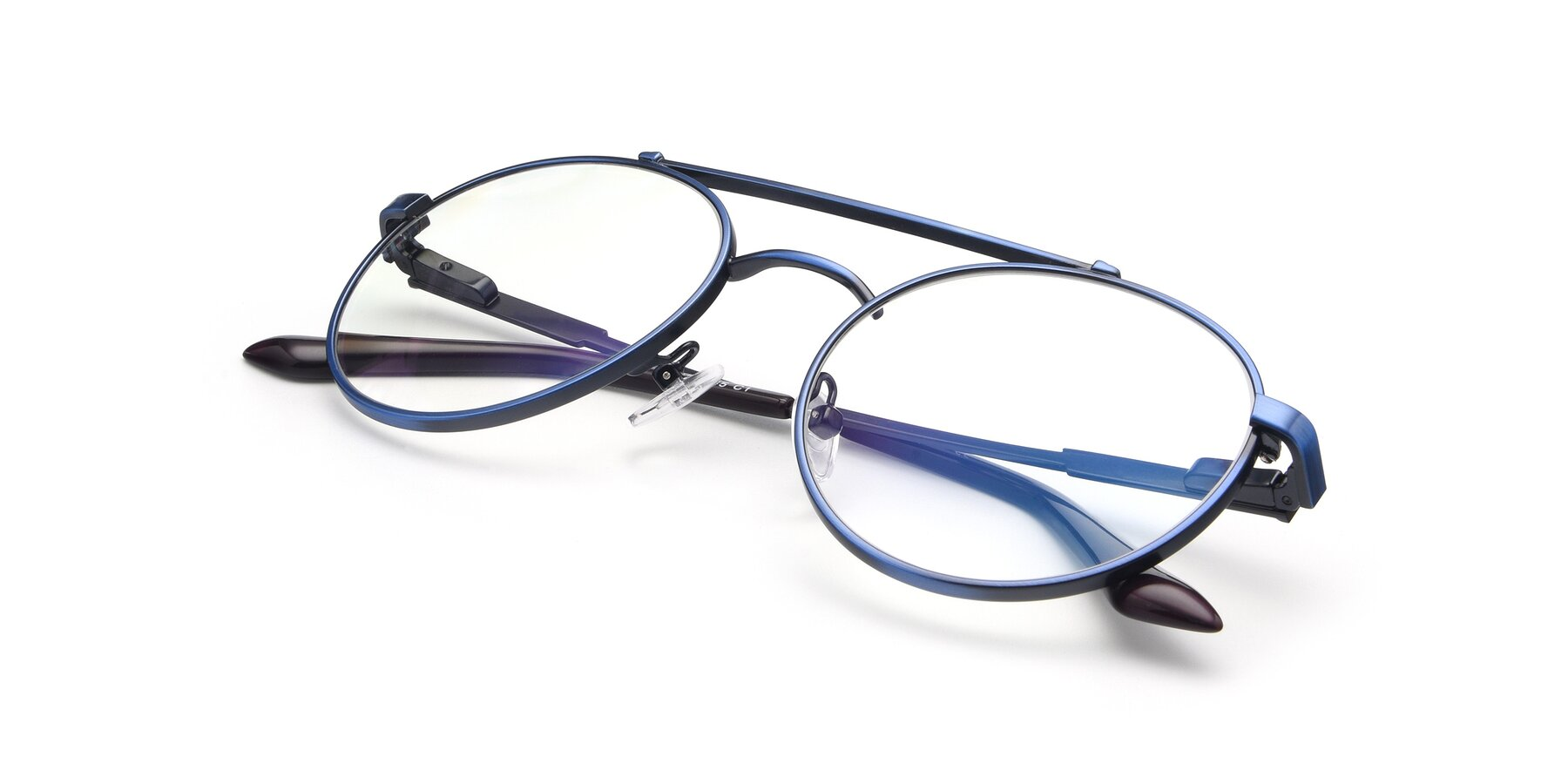 View of 9490 in Antique Blue with Clear Eyeglass Lenses
