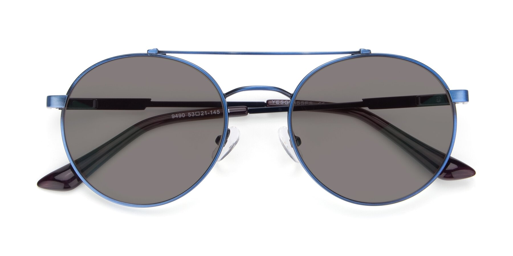 Folded Front of 9490 in Antique Blue with Medium Gray Tinted Lenses