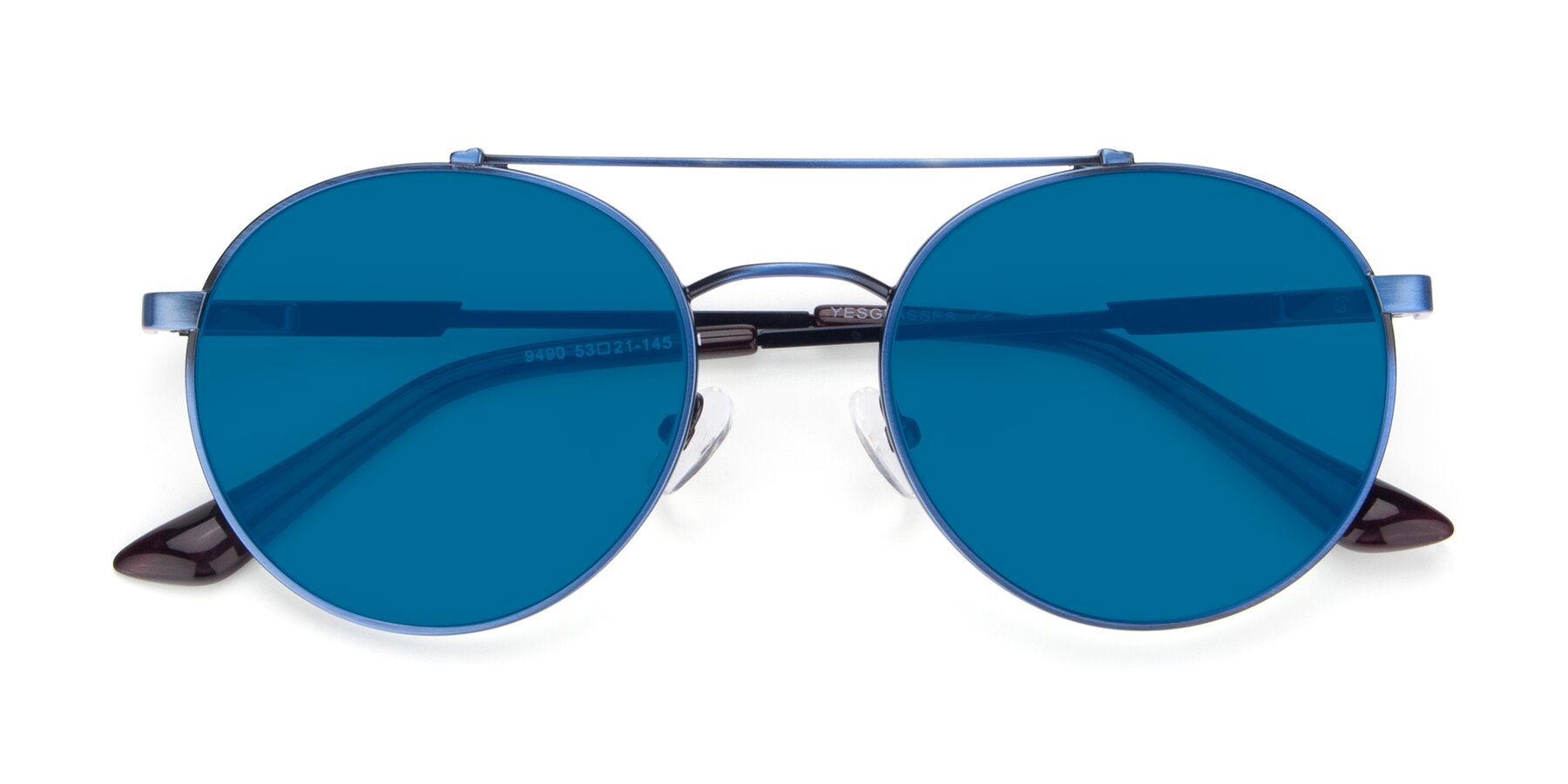 Folded Front of 9490 in Antique Blue with Blue Tinted Lenses