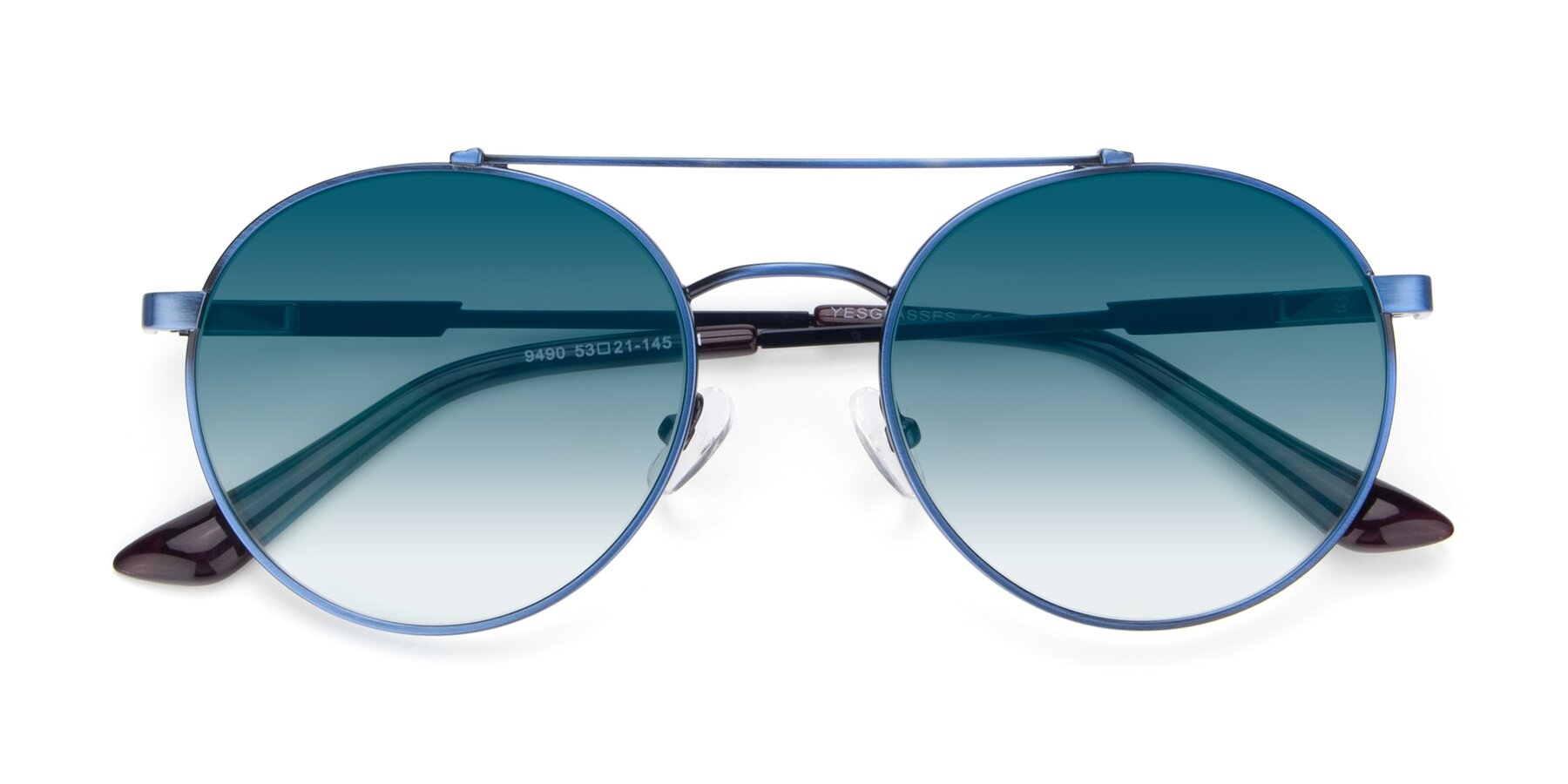 Folded Front of 9490 in Antique Blue with Blue Gradient Lenses