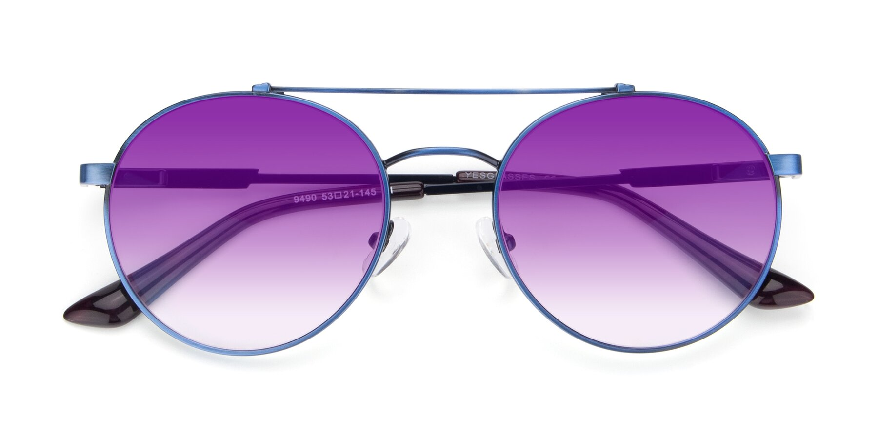 Folded Front of 9490 in Antique Blue with Purple Gradient Lenses