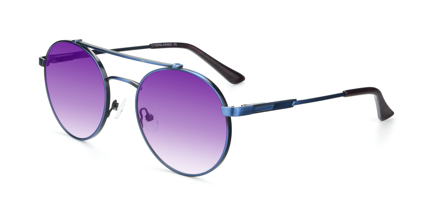 Angle of 9490 in Antique Blue with Purple Gradient Lenses