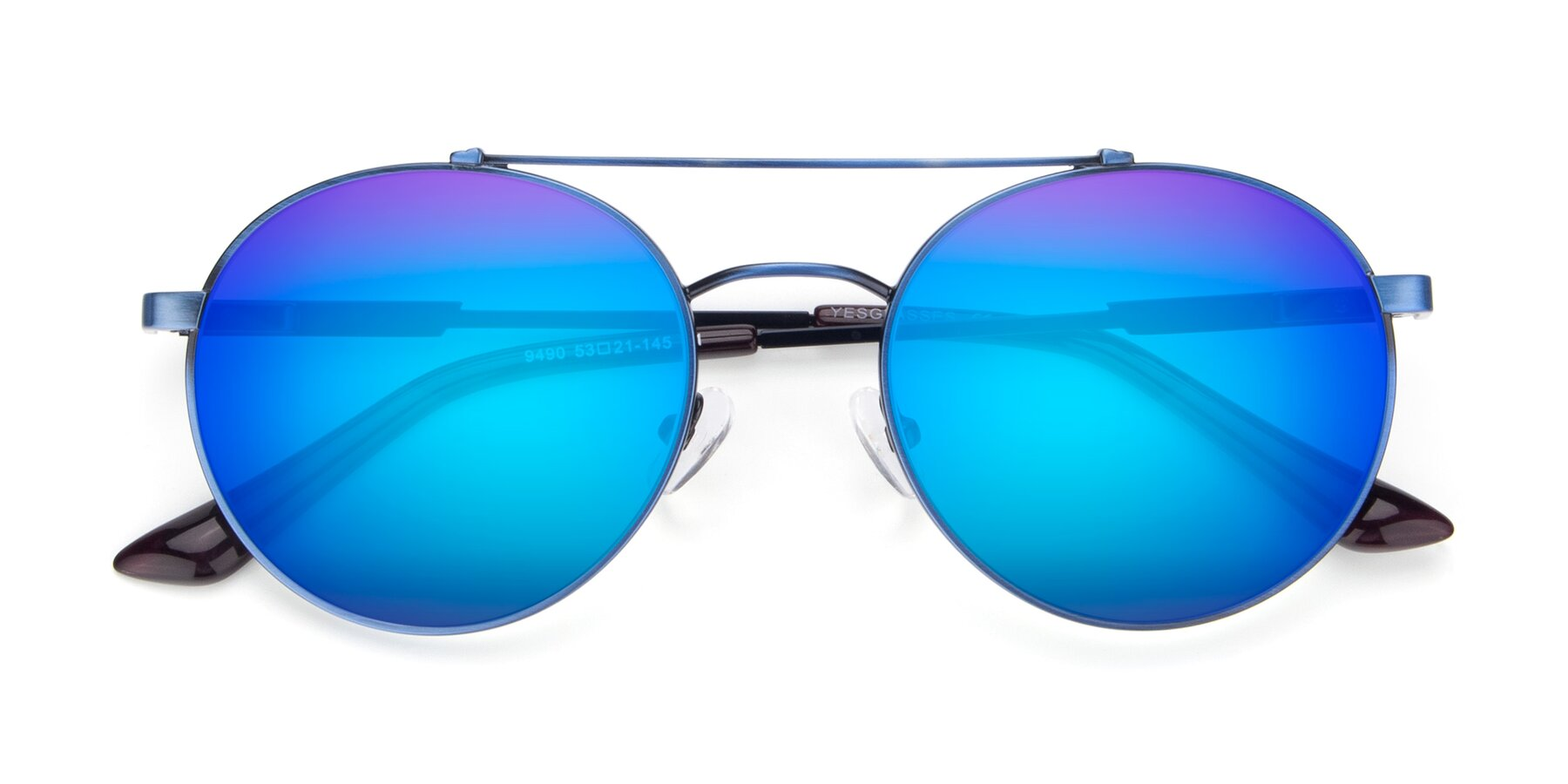 Folded Front of 9490 in Antique Blue with Blue Mirrored Lenses