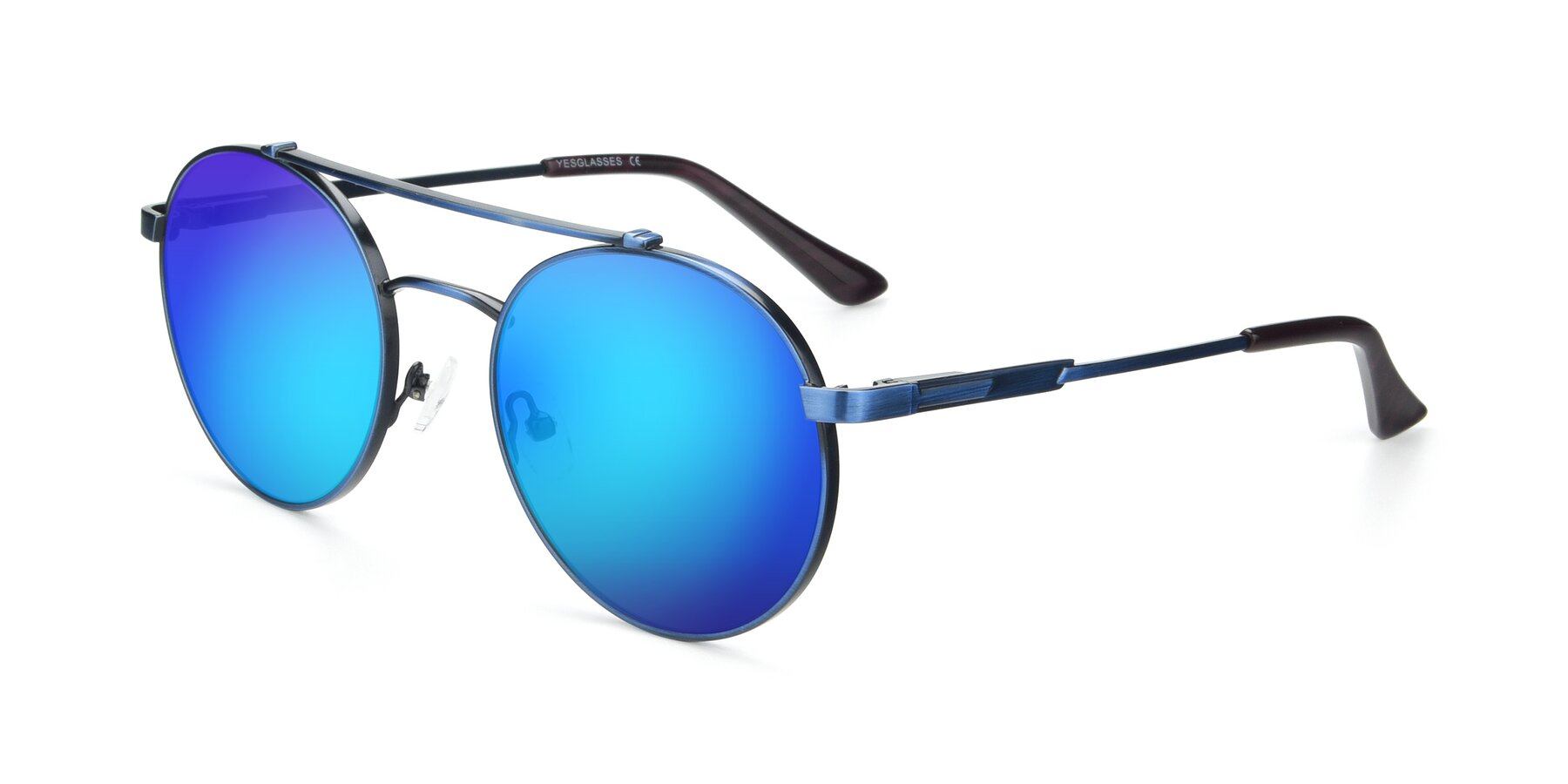 Angle of 9490 in Antique Blue with Blue Mirrored Lenses