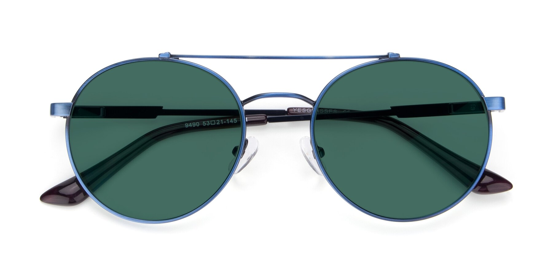 Folded Front of 9490 in Antique Blue with Green Polarized Lenses