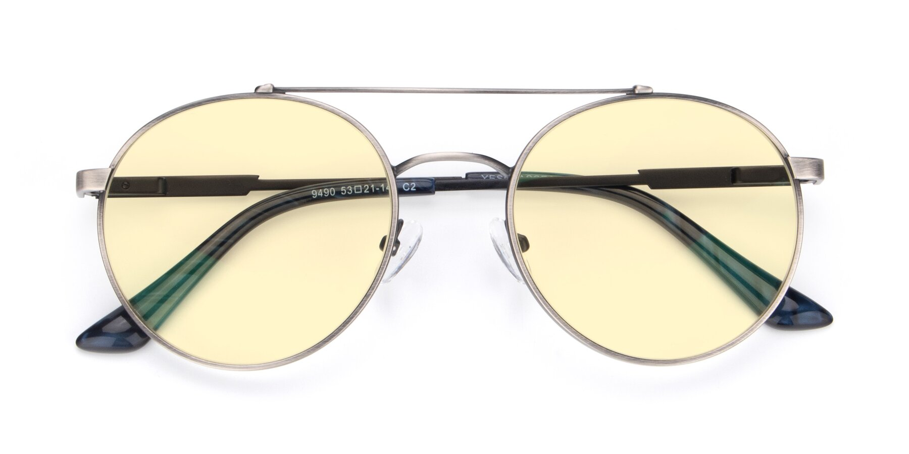 Folded Front of 9490 in Antique Gunmetal with Light Yellow Tinted Lenses