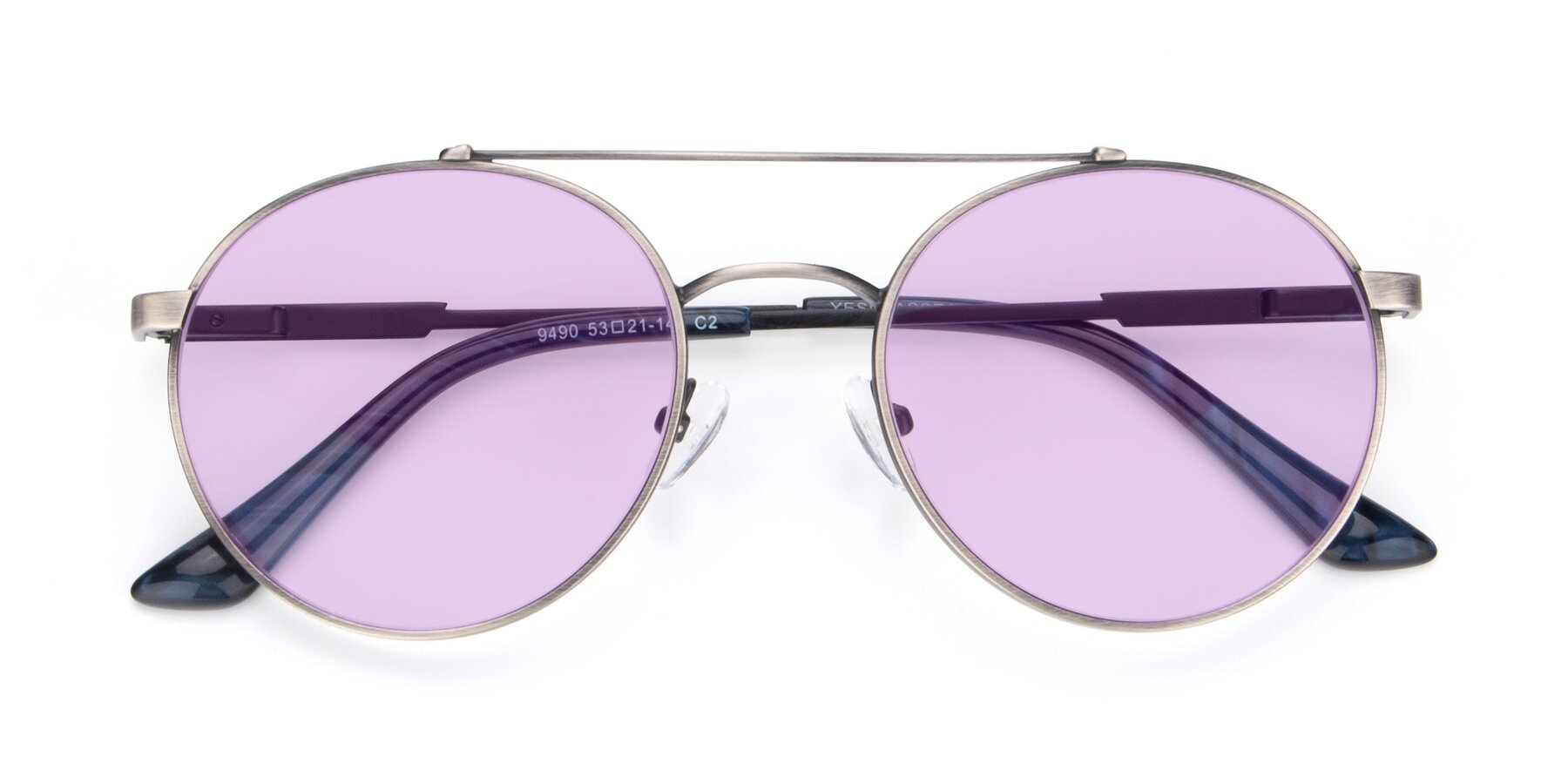 Folded Front of 9490 in Antique Gunmetal with Light Purple Tinted Lenses