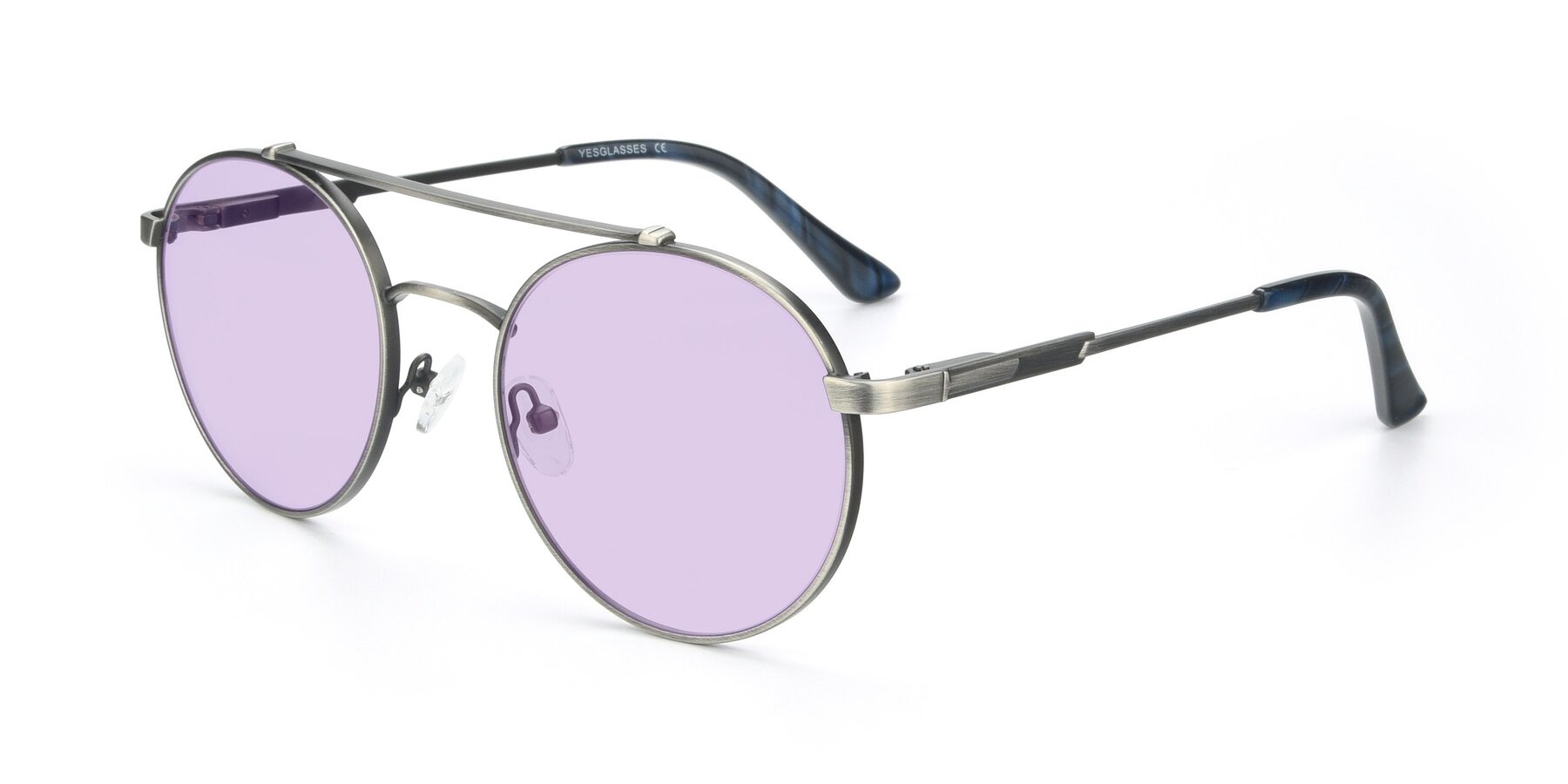 Angle of 9490 in Antique Gunmetal with Light Purple Tinted Lenses