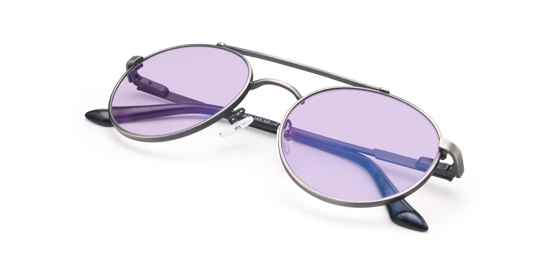 View of 9490 in Antique Gunmetal with Light Purple Tinted Lenses