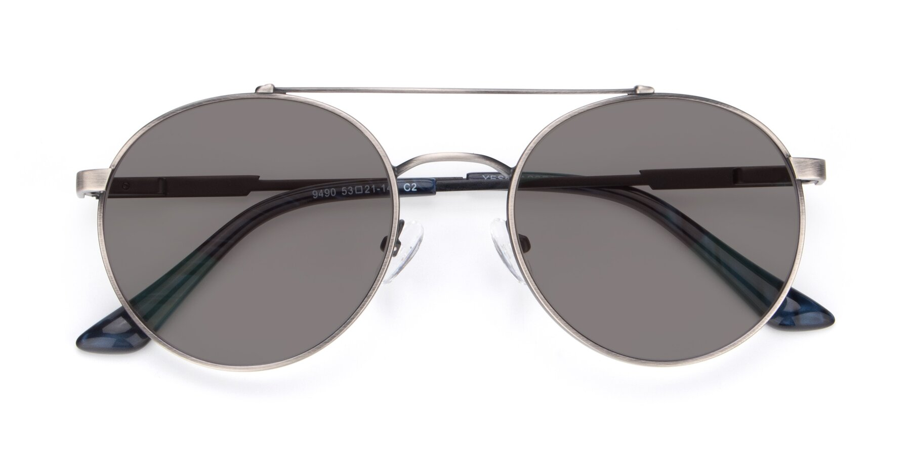 Folded Front of 9490 in Antique Gunmetal with Medium Gray Tinted Lenses