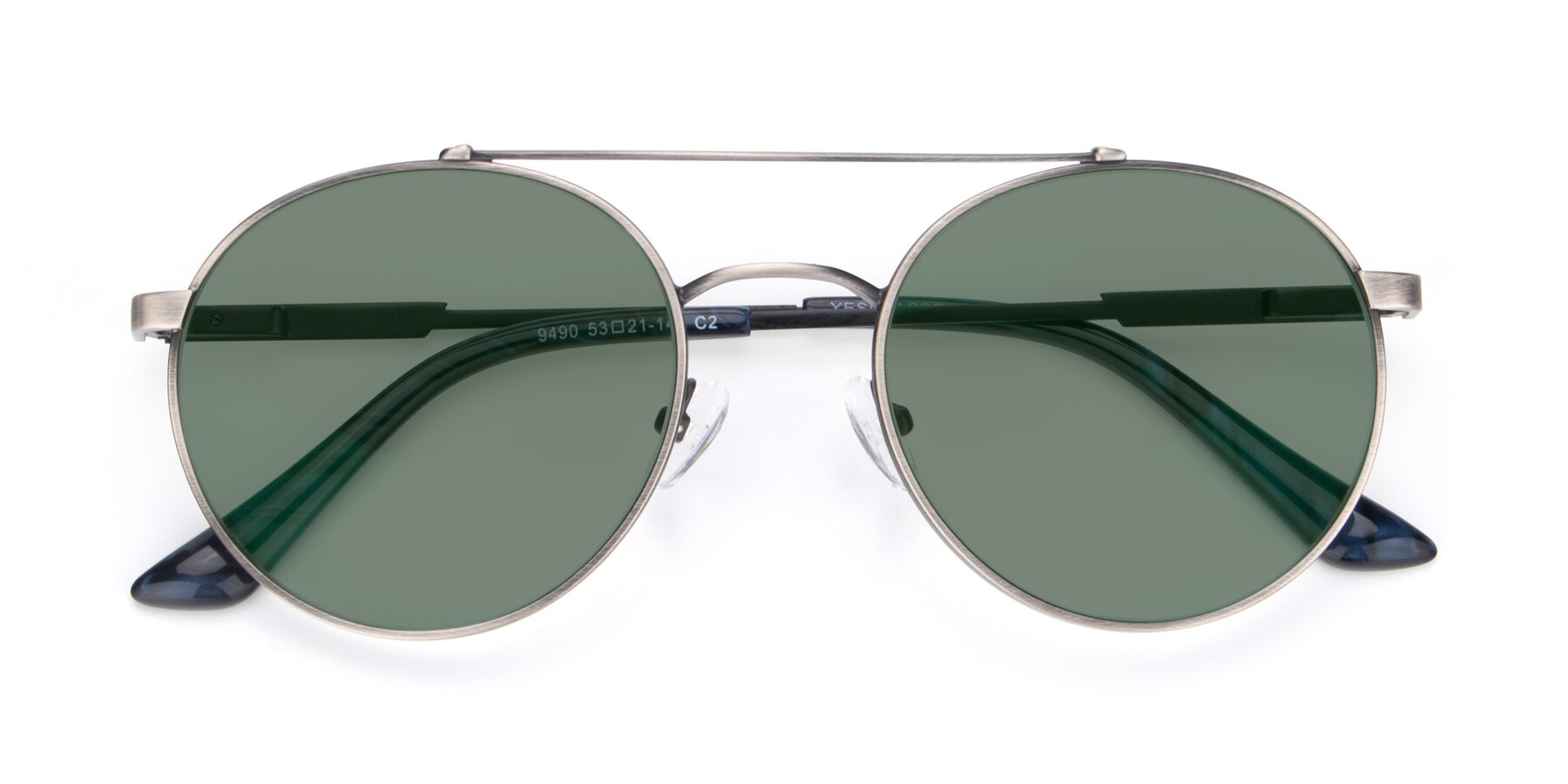 Folded Front of 9490 in Antique Gunmetal with Medium Green Tinted Lenses