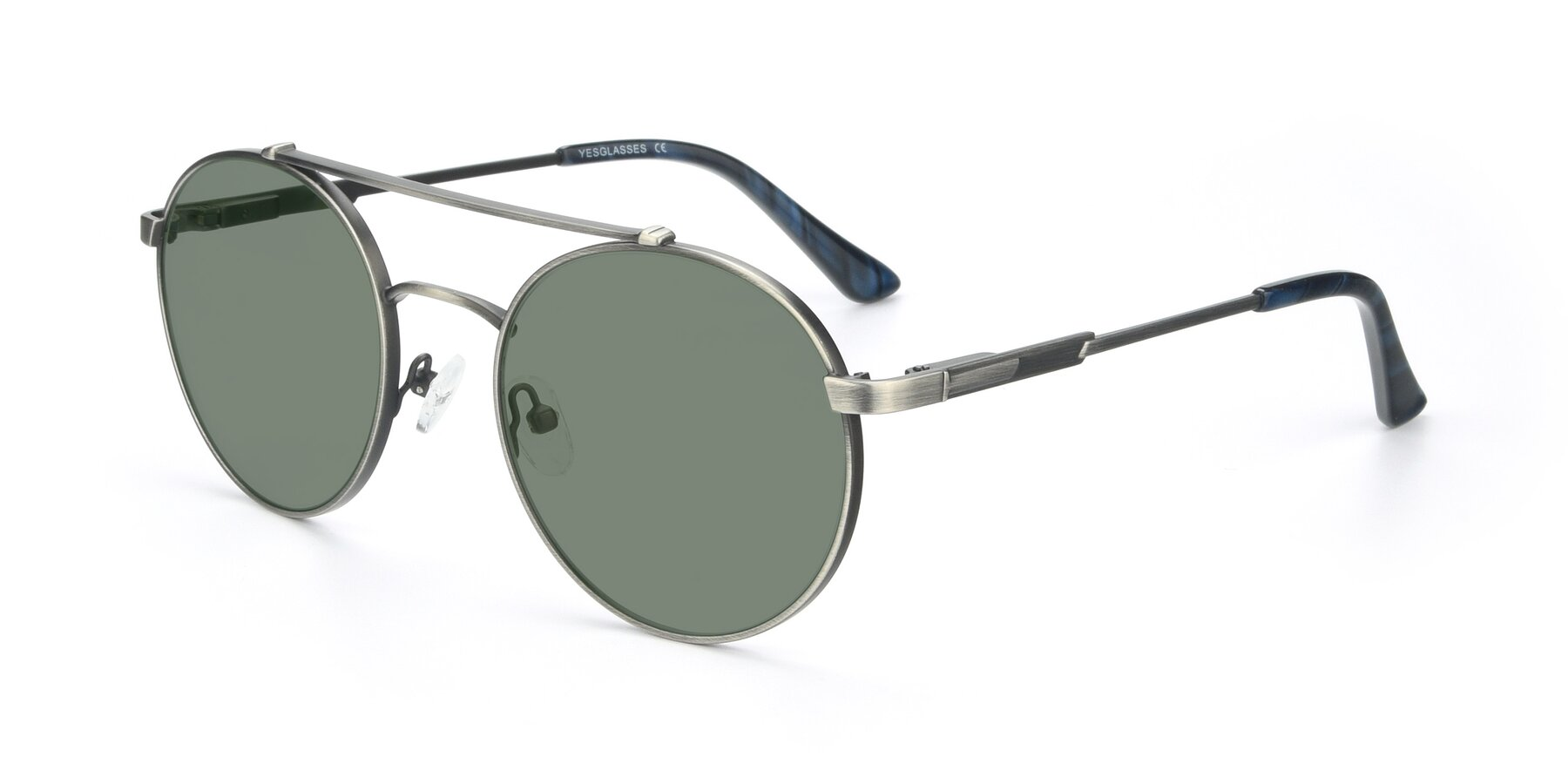 Angle of 9490 in Antique Gunmetal with Medium Green Tinted Lenses