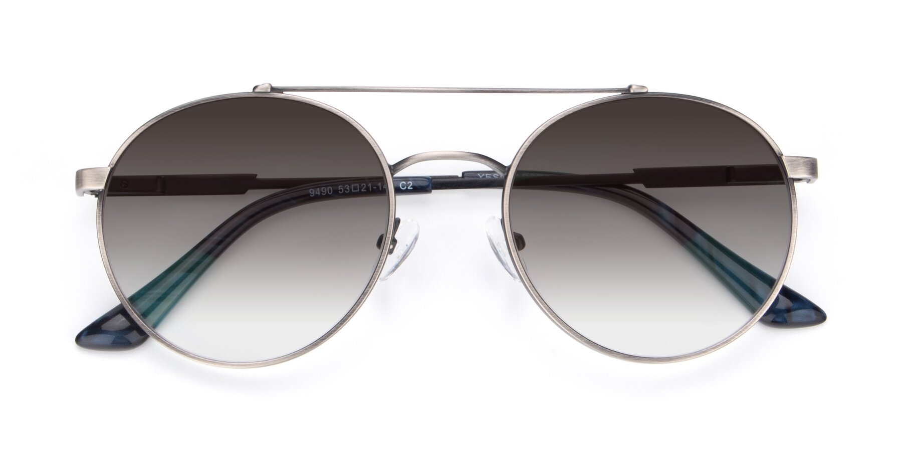 Folded Front of 9490 in Antique Gunmetal with Gray Gradient Lenses