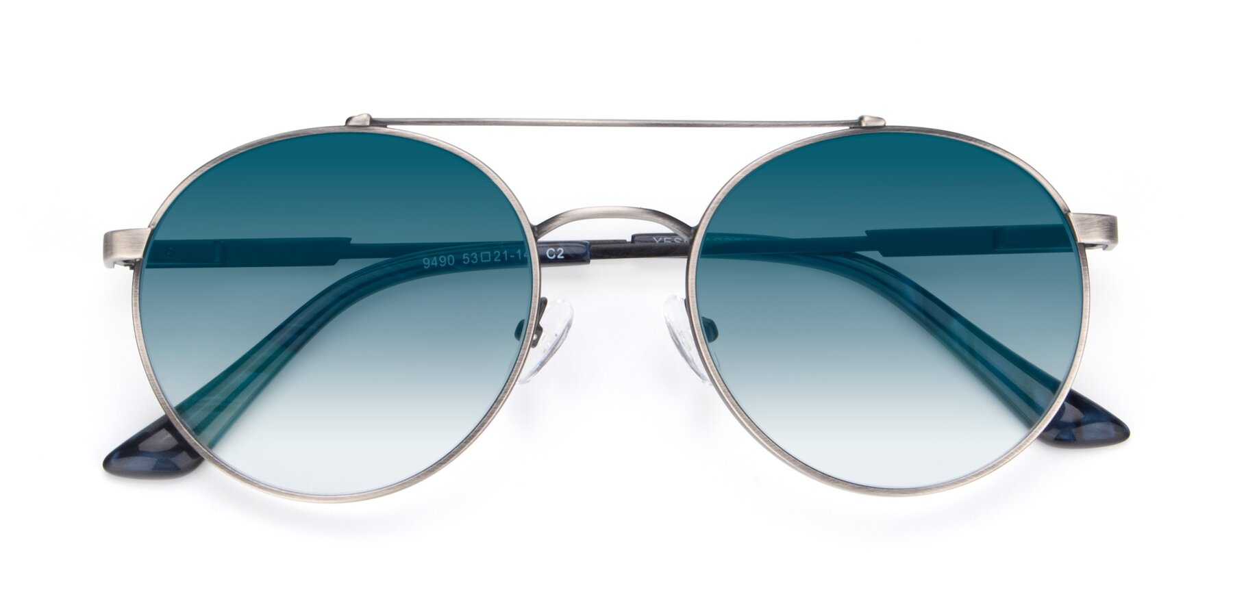 Folded Front of 9490 in Antique Gunmetal with Blue Gradient Lenses