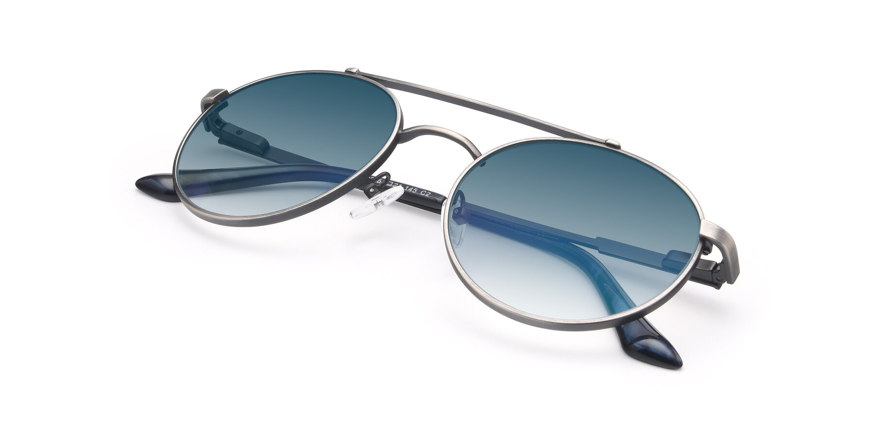 View of 9490 in Antique Gunmetal with Blue Gradient Lenses