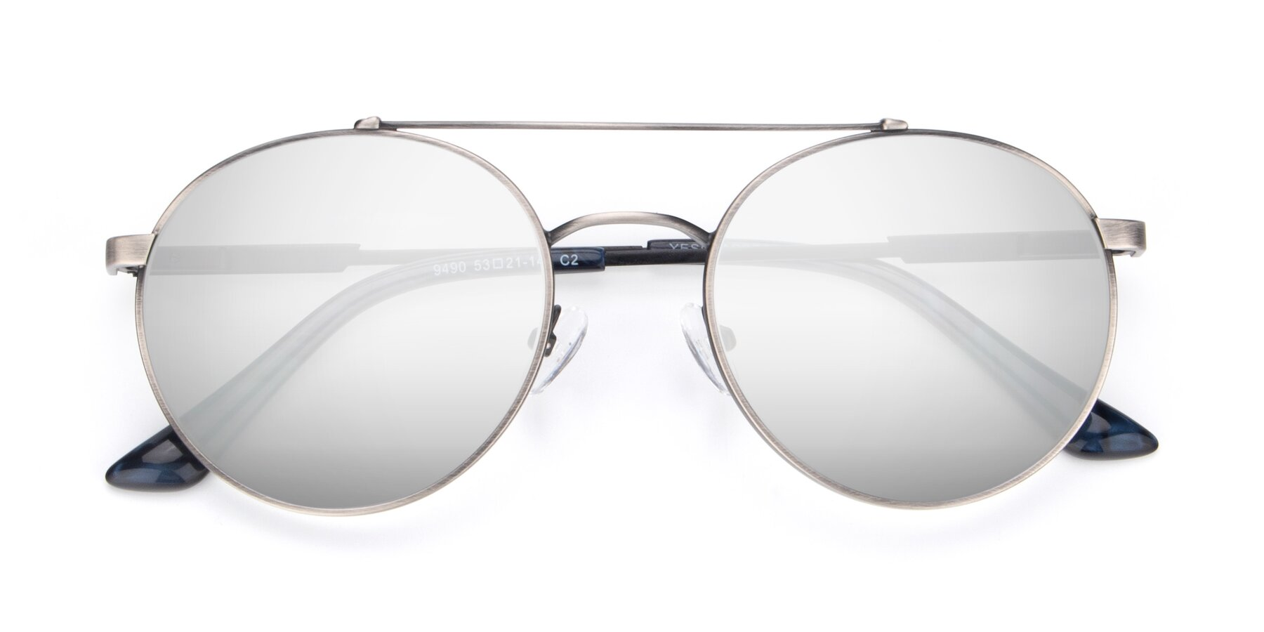 Folded Front of 9490 in Antique Gunmetal with Silver Mirrored Lenses