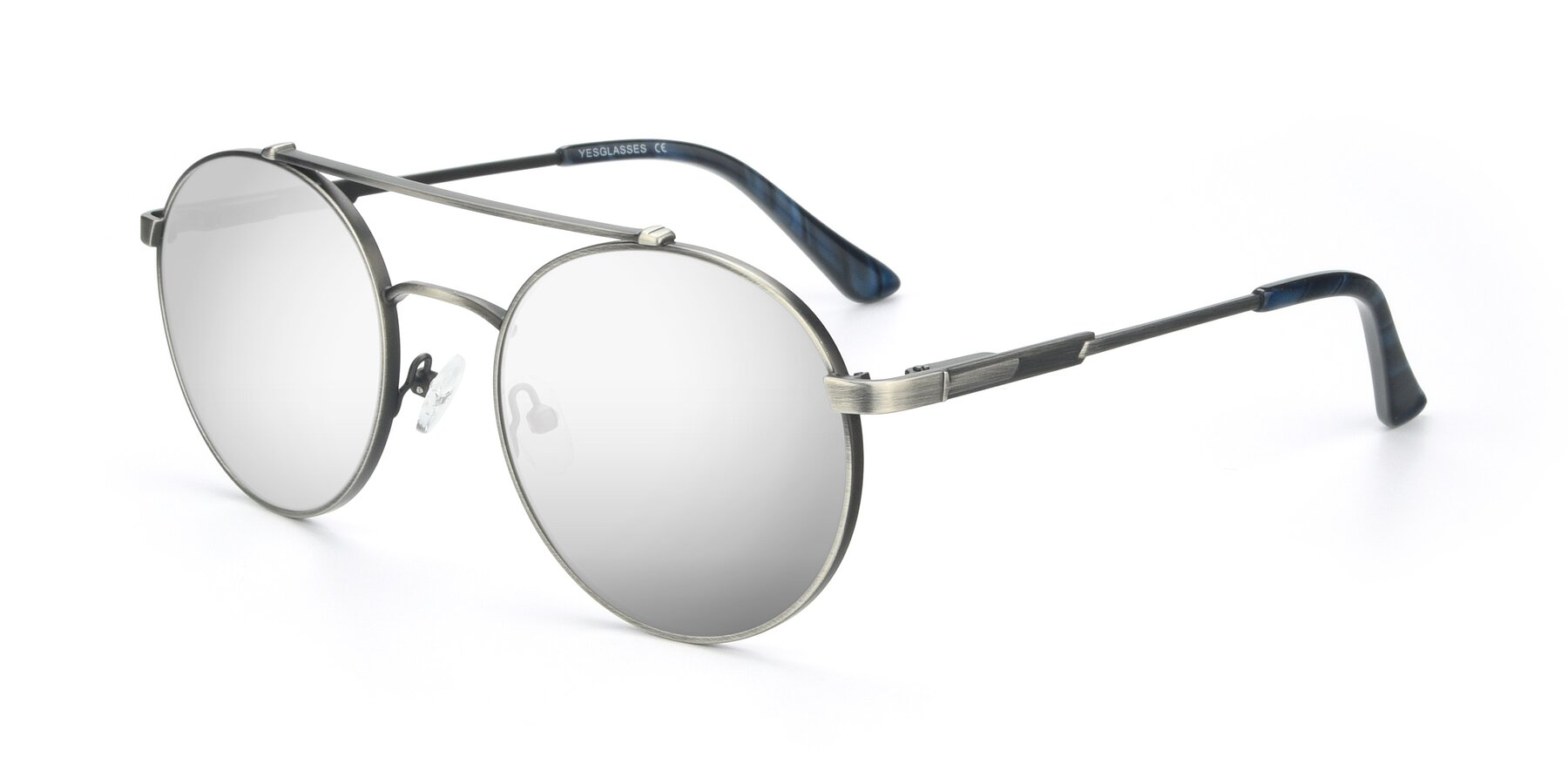 Angle of 9490 in Antique Gunmetal with Silver Mirrored Lenses