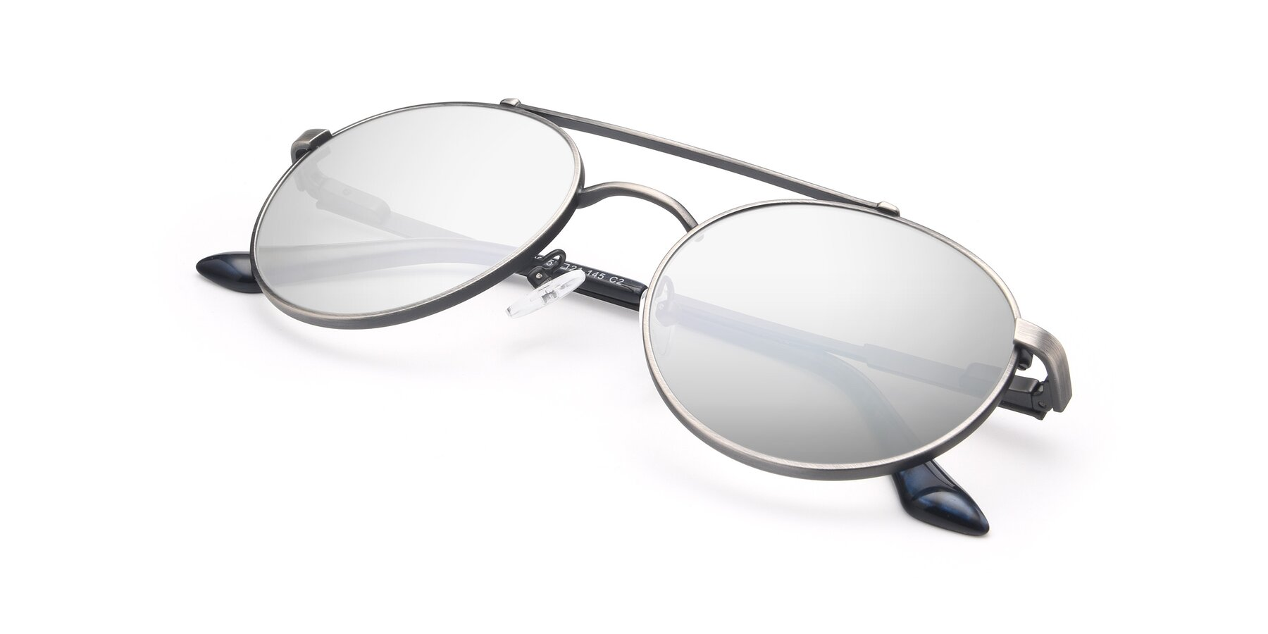 View of 9490 in Antique Gunmetal with Silver Mirrored Lenses