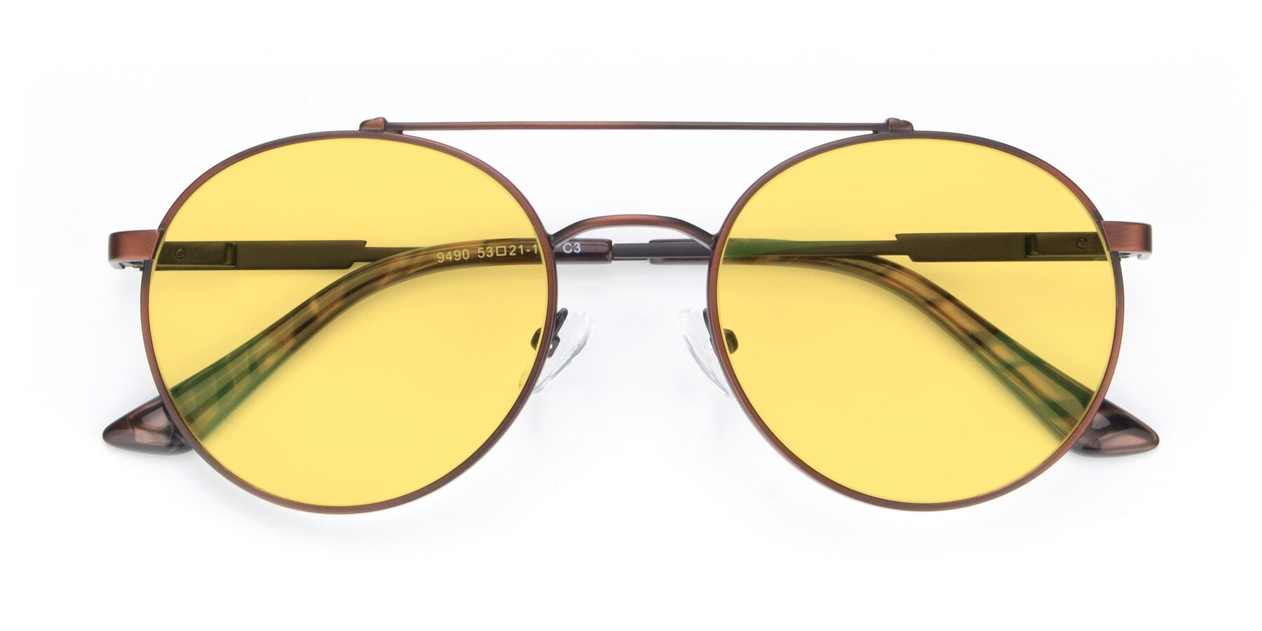Folded Front of 9490 in Antique Brown with Medium Yellow Tinted Lenses
