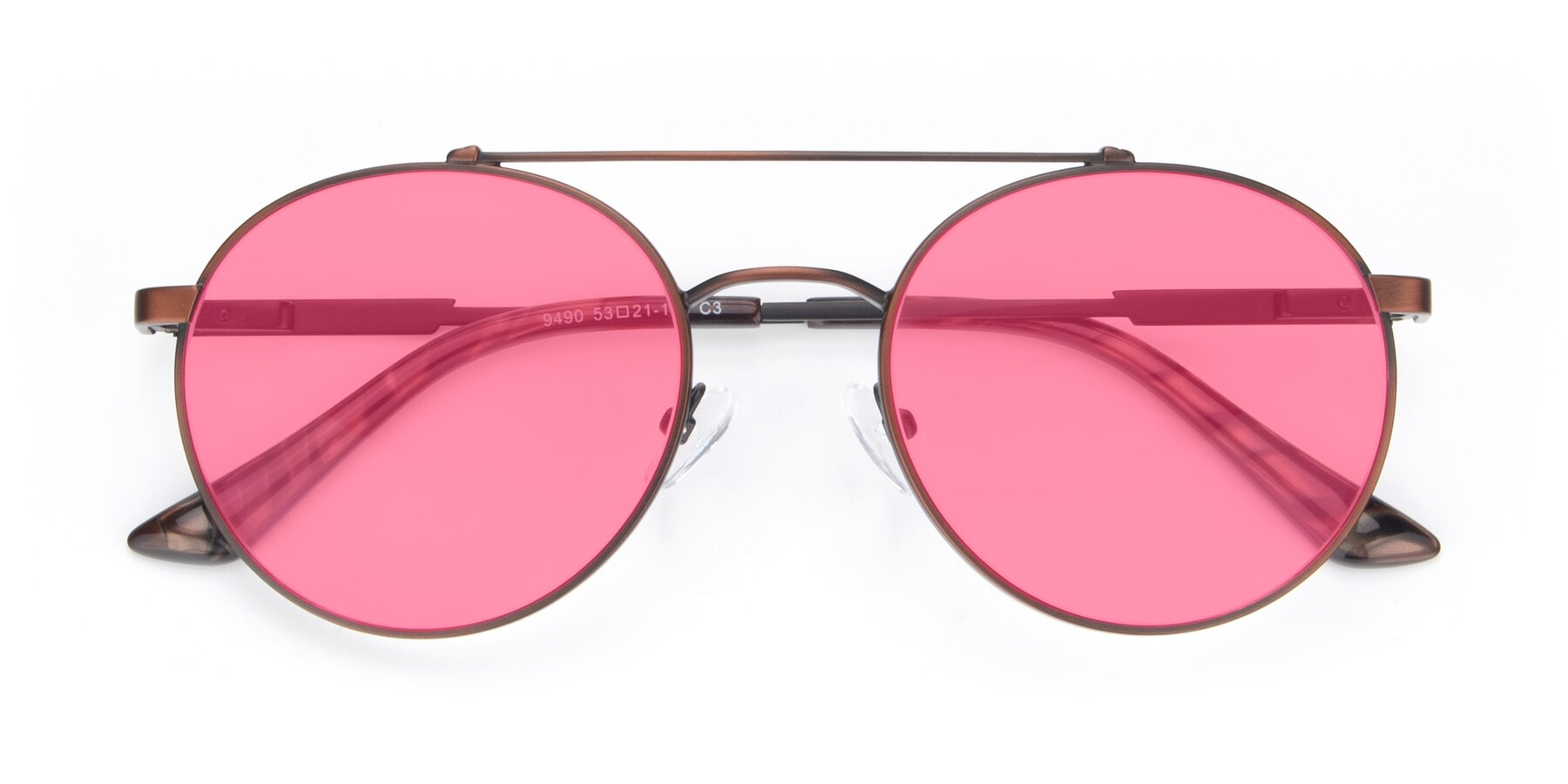 Folded Front of 9490 in Antique Brown with Pink Tinted Lenses