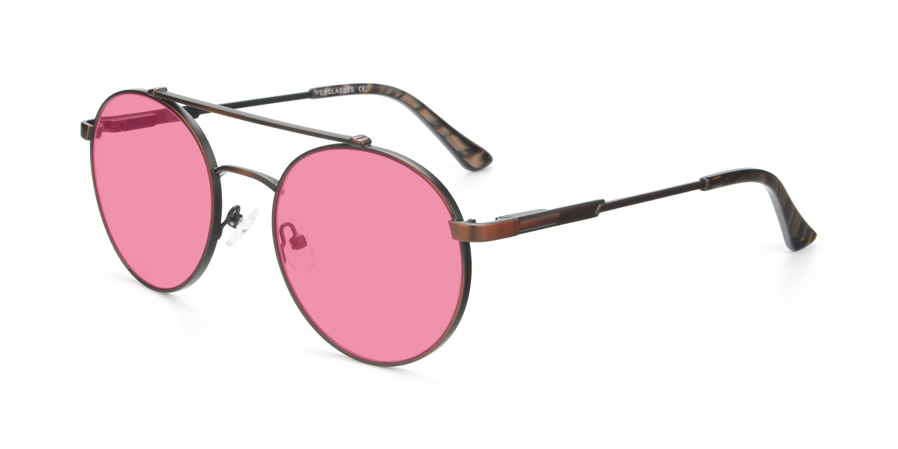 Angle of 9490 in Antique Brown with Pink Tinted Lenses