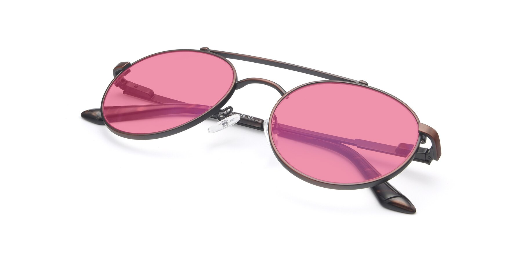 View of 9490 in Antique Brown with Pink Tinted Lenses