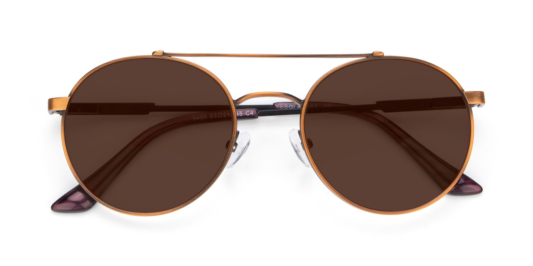 Folded Front of 9490 in Antique Bronze with Brown Tinted Lenses