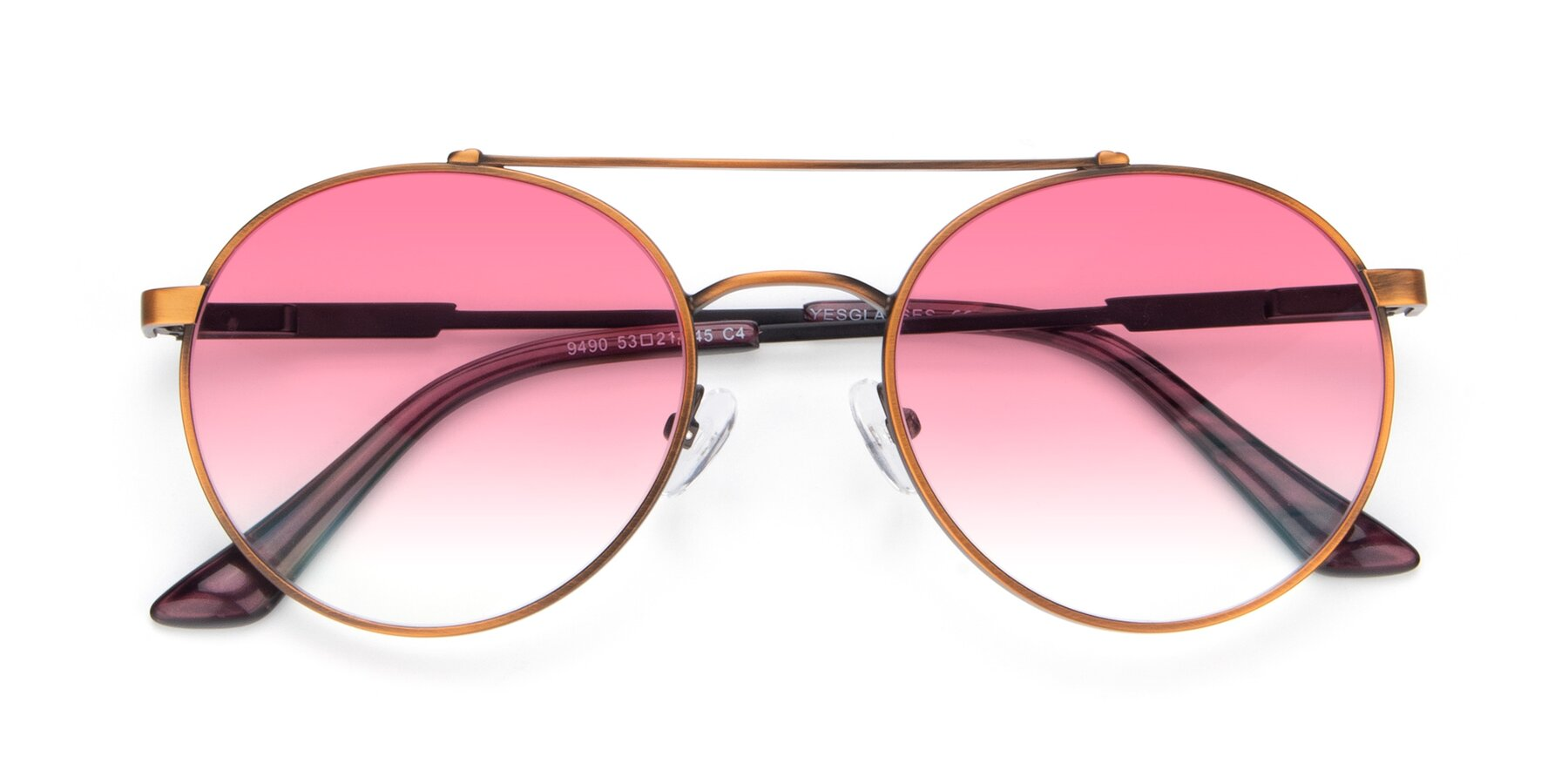 Folded Front of 9490 in Antique Bronze with Pink Gradient Lenses