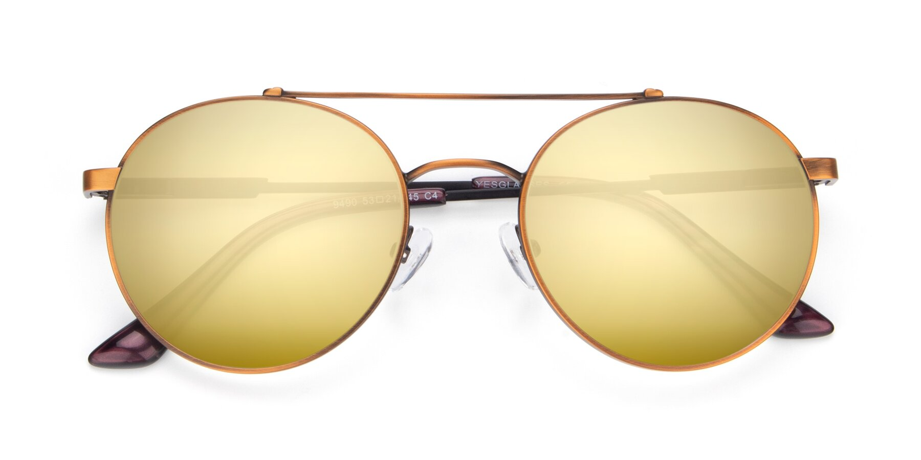 Folded Front of 9490 in Antique Bronze with Gold Mirrored Lenses