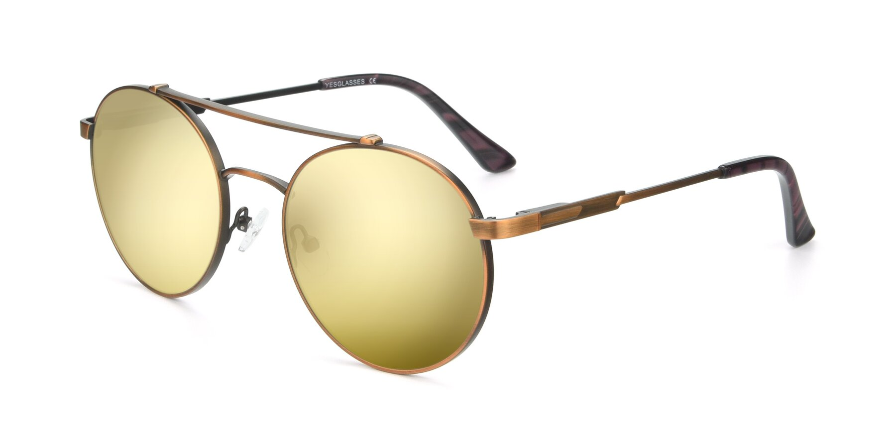 Angle of 9490 in Antique Bronze with Gold Mirrored Lenses