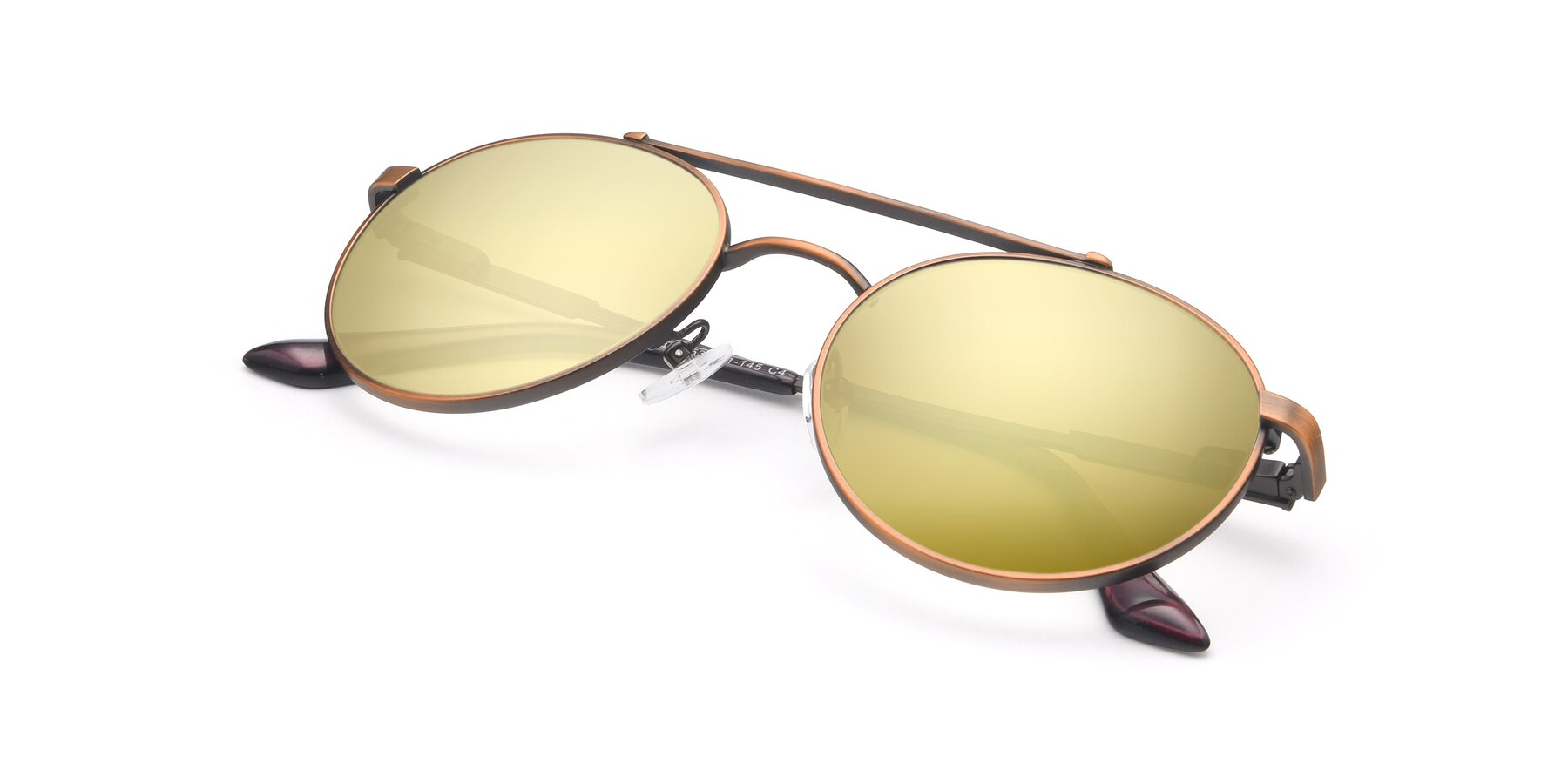 View of 9490 in Antique Bronze with Gold Mirrored Lenses