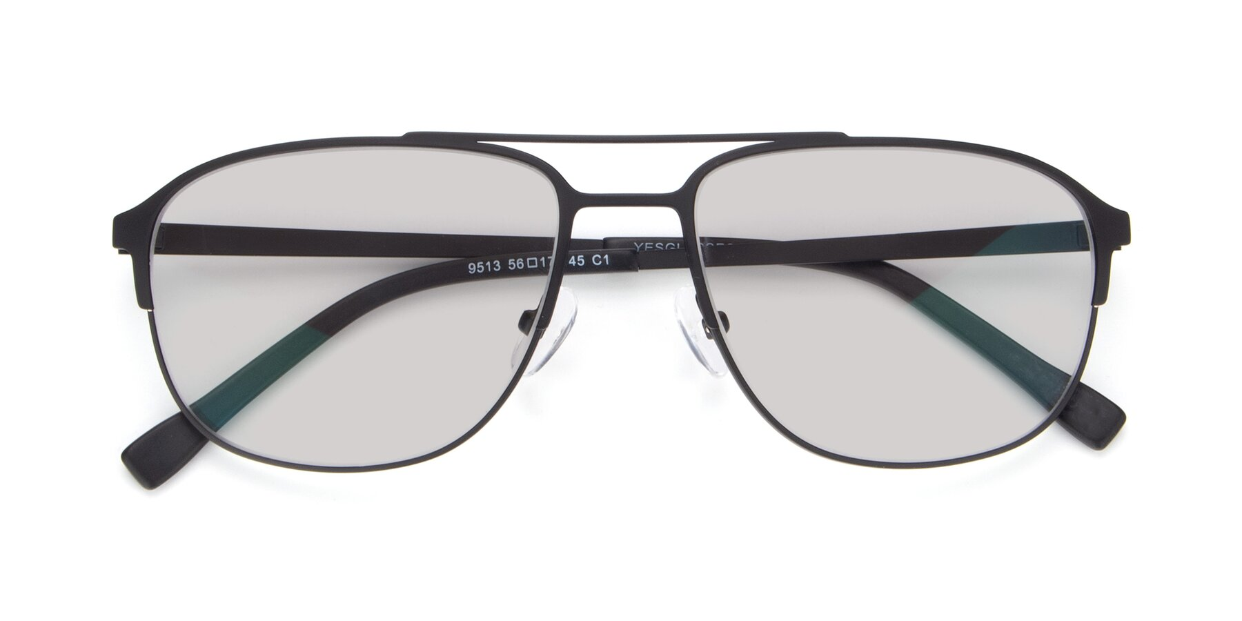 Folded Front of 9513 in Antique Black with Light Gray Tinted Lenses