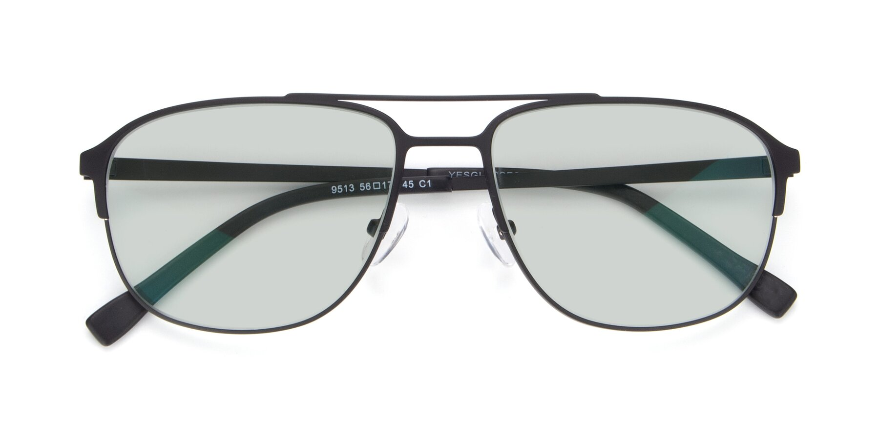 Folded Front of 9513 in Antique Black with Light Green Tinted Lenses
