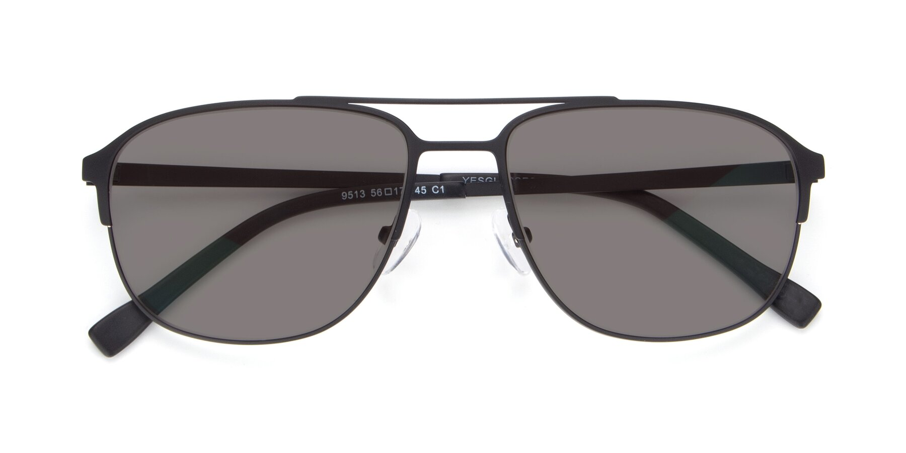 Folded Front of 9513 in Antique Black with Medium Gray Tinted Lenses