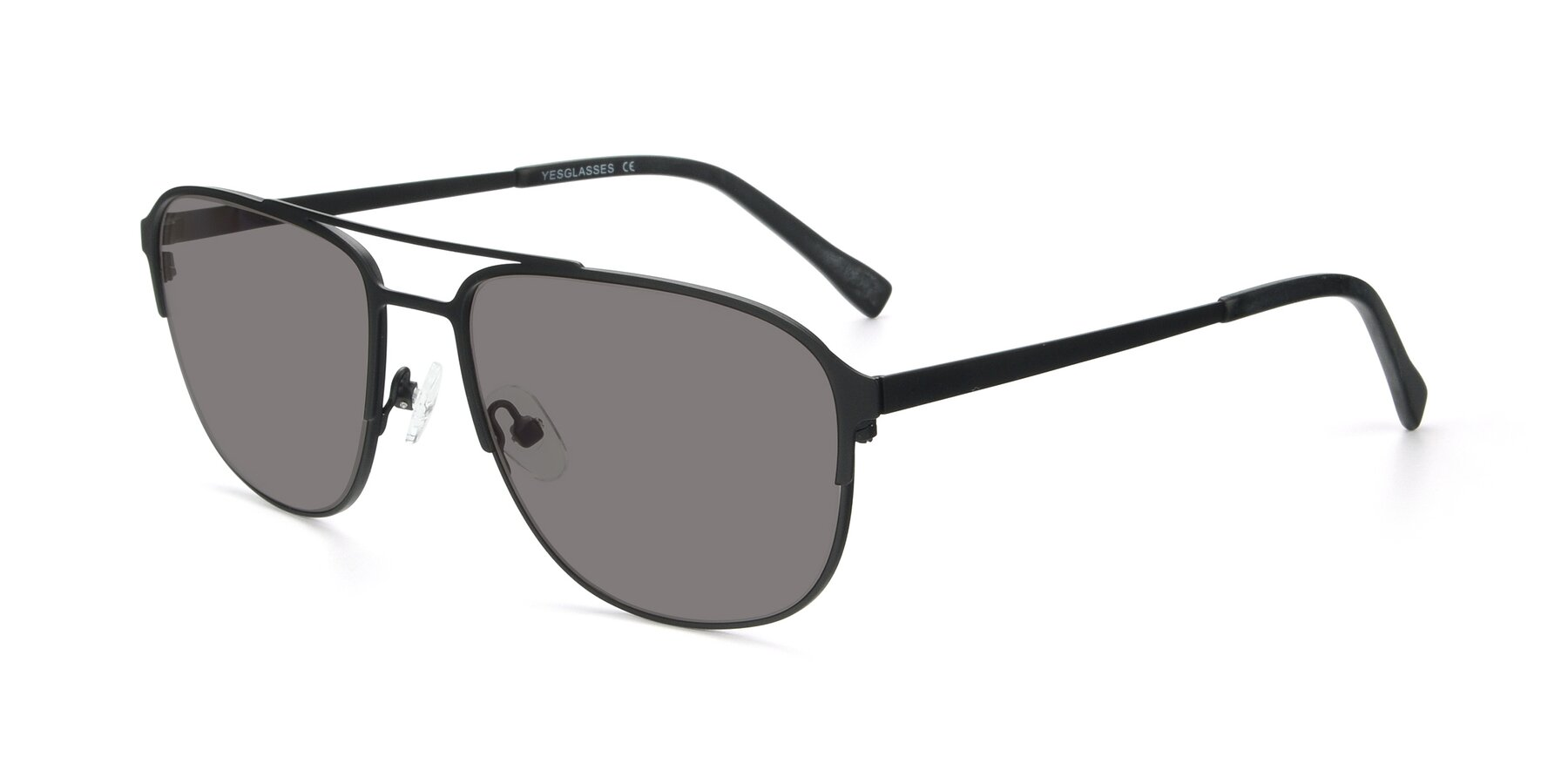Angle of 9513 in Antique Black with Medium Gray Tinted Lenses