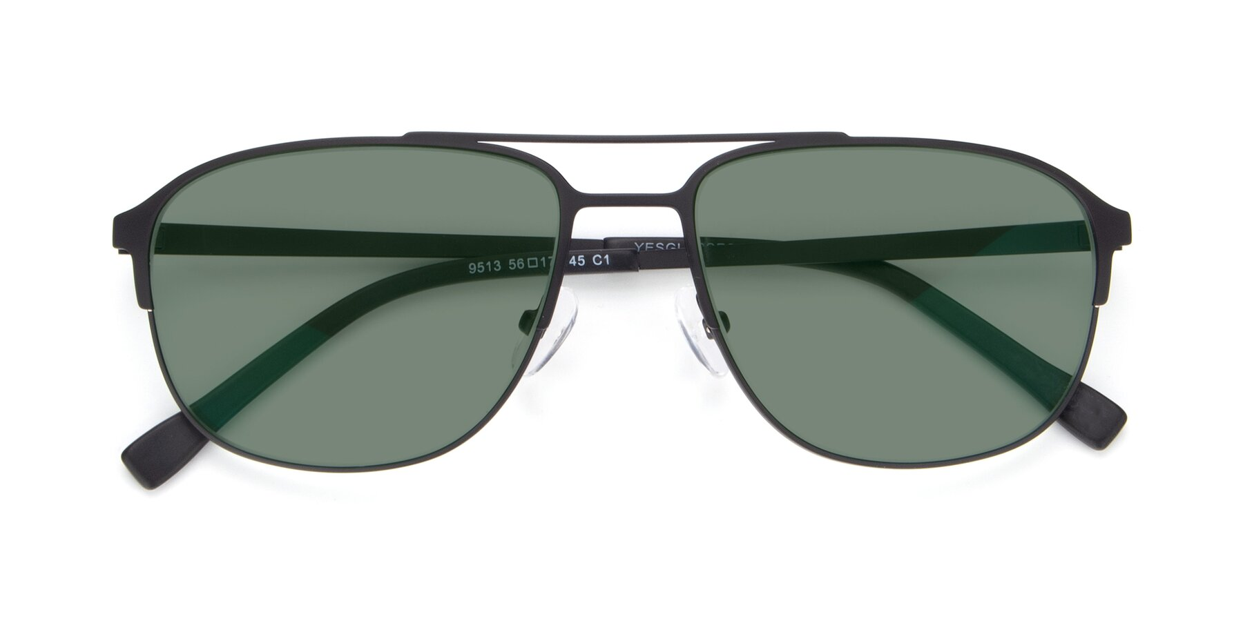 Folded Front of 9513 in Antique Black with Medium Green Tinted Lenses
