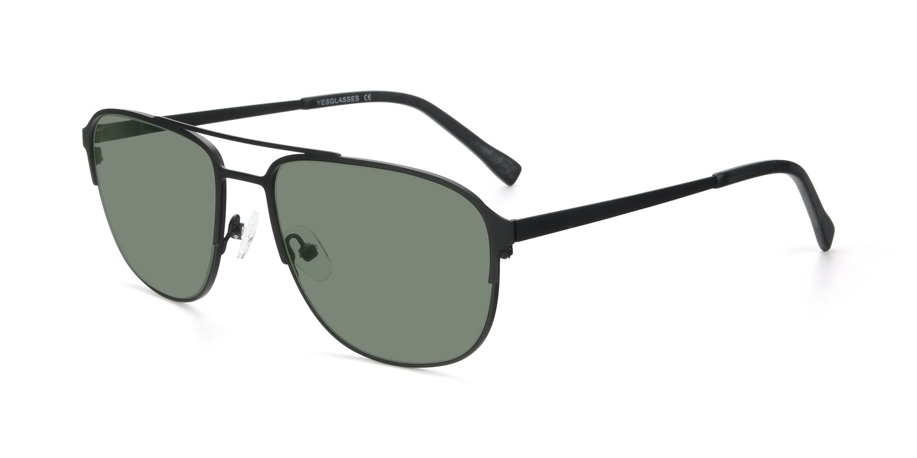 Angle of 9513 in Antique Black with Medium Green Tinted Lenses