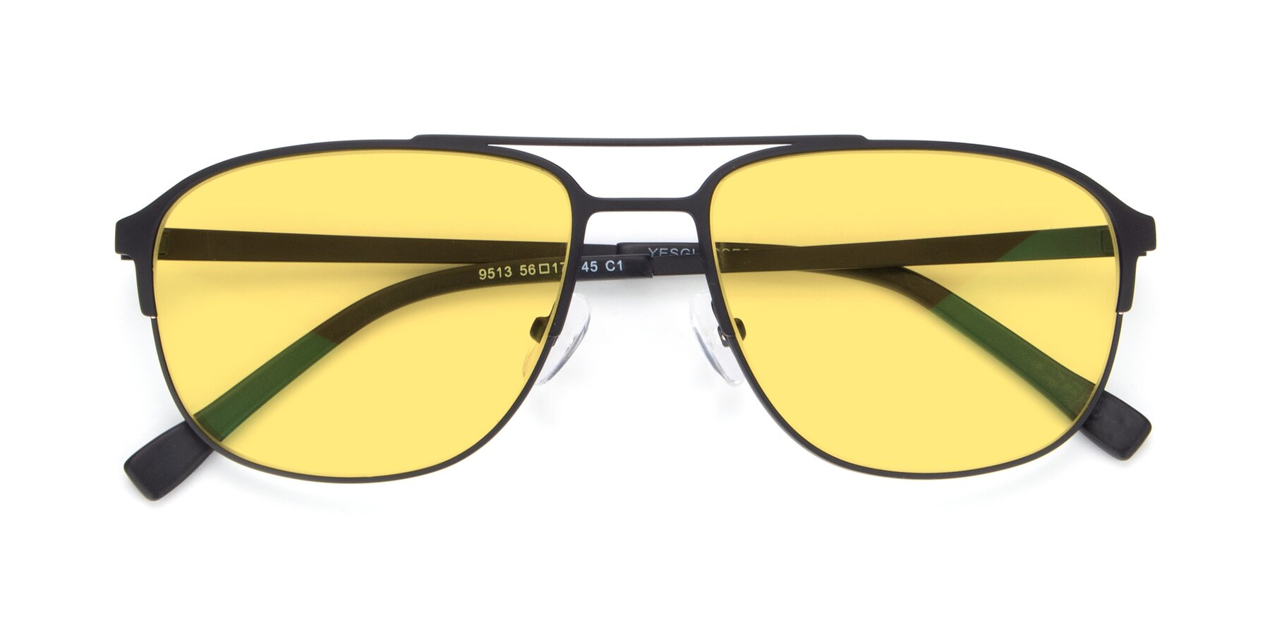 Folded Front of 9513 in Antique Black with Medium Yellow Tinted Lenses