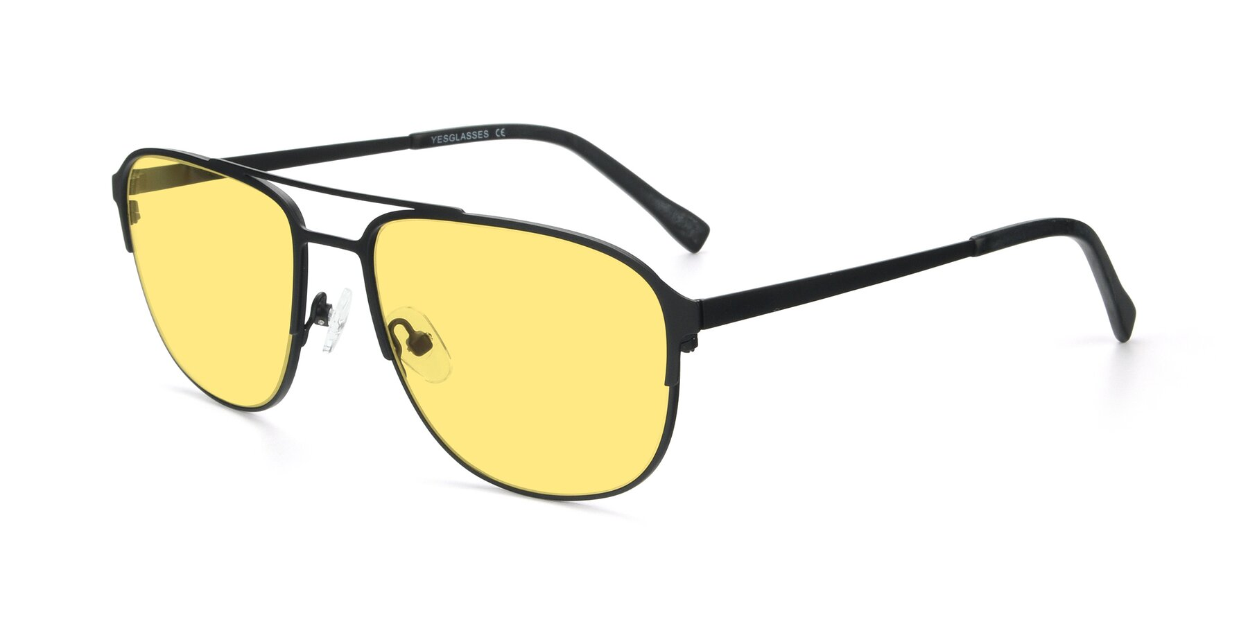 Angle of 9513 in Antique Black with Medium Yellow Tinted Lenses