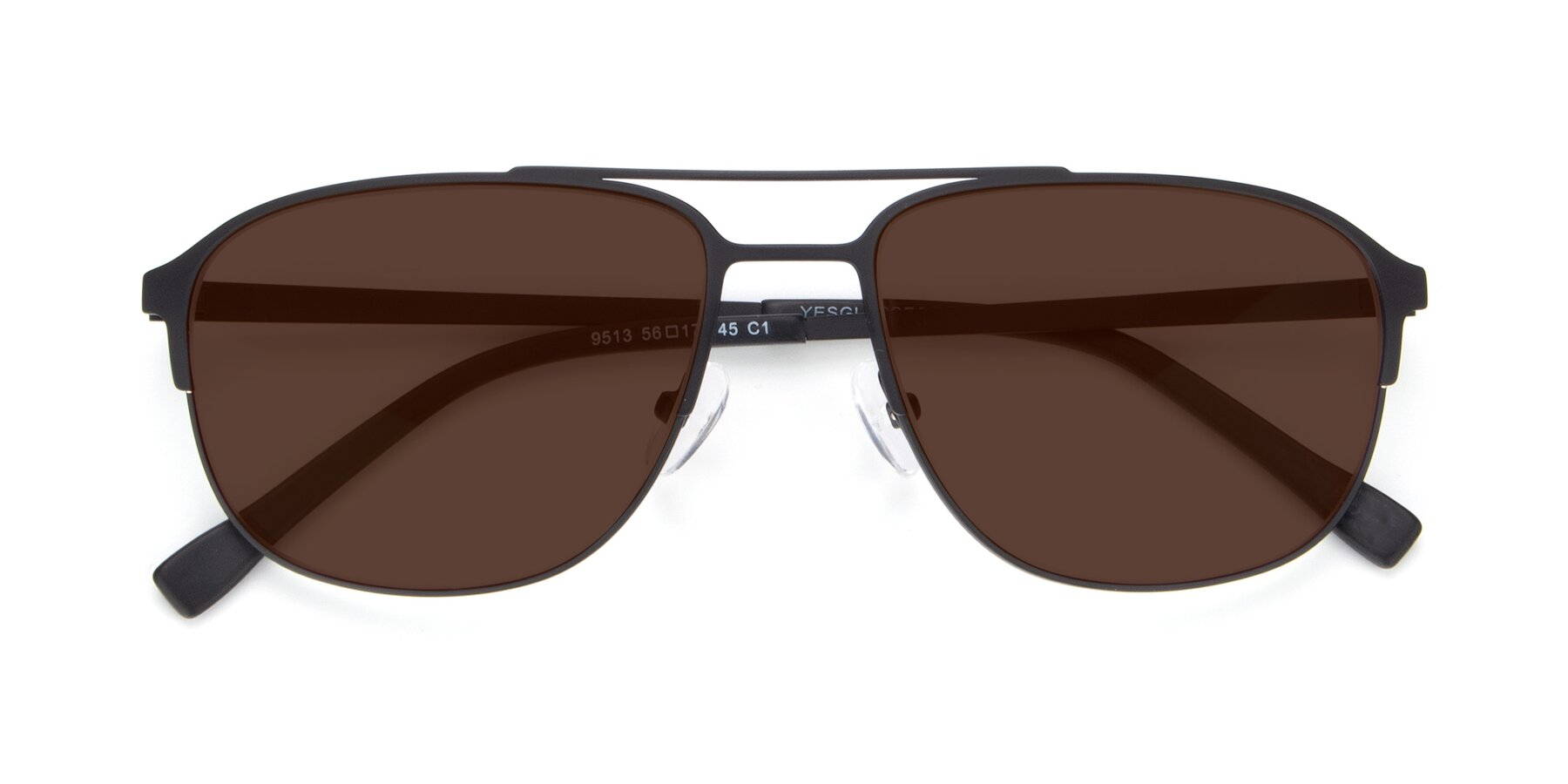 Folded Front of 9513 in Antique Black with Brown Tinted Lenses