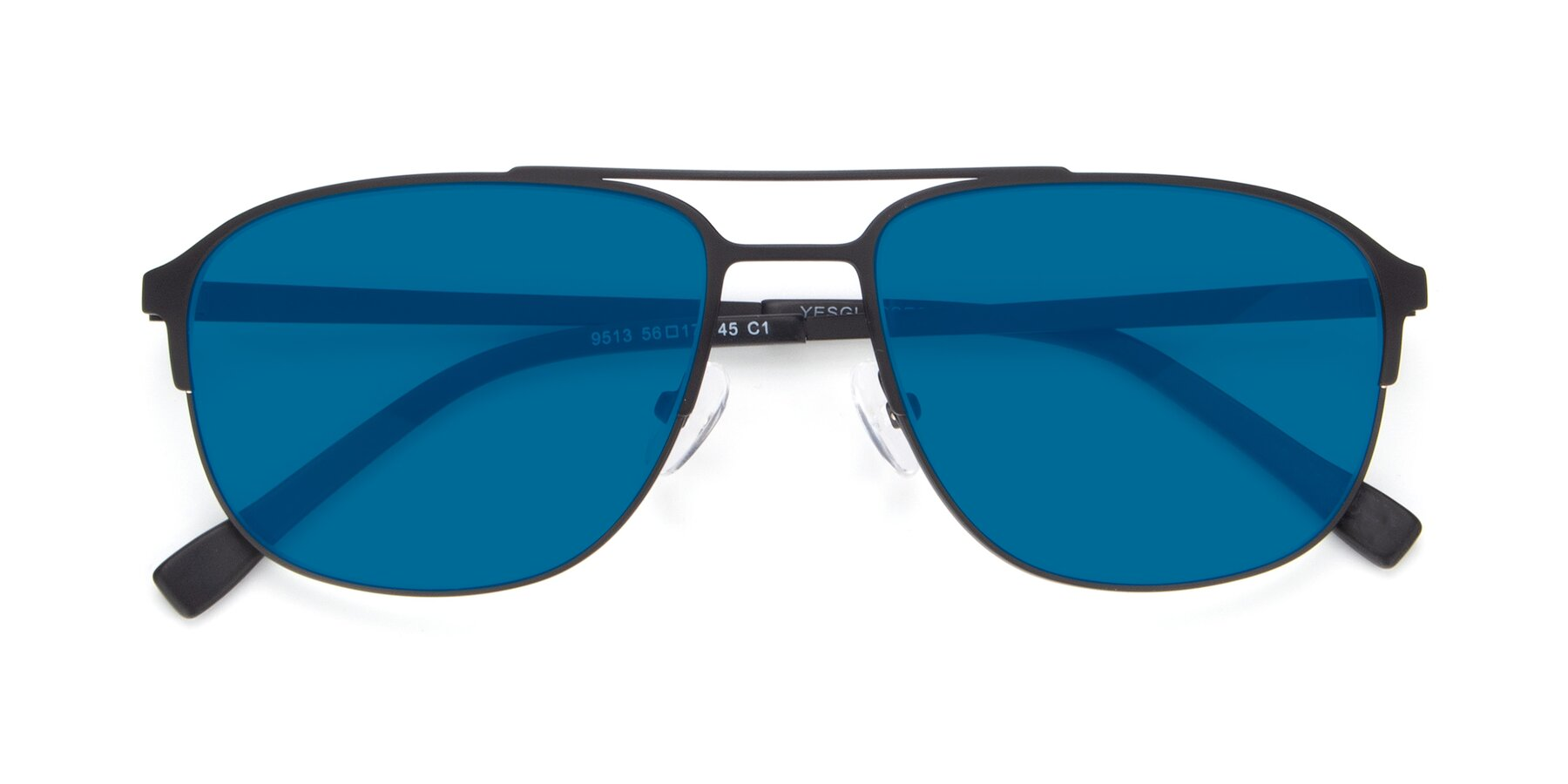 Folded Front of 9513 in Antique Black with Blue Tinted Lenses
