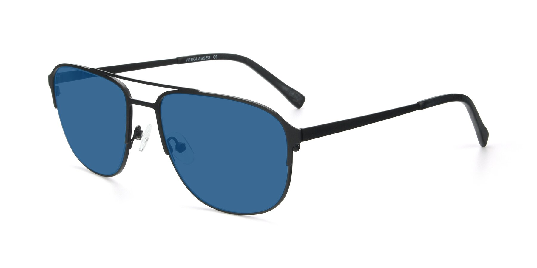 Angle of 9513 in Antique Black with Blue Tinted Lenses