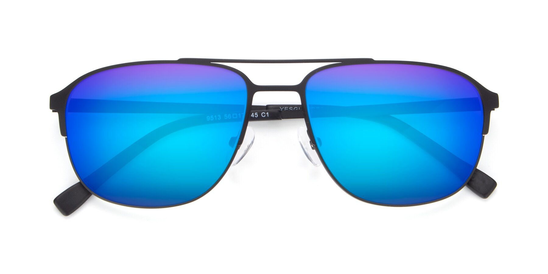 Folded Front of 9513 in Antique Black with Blue Mirrored Lenses