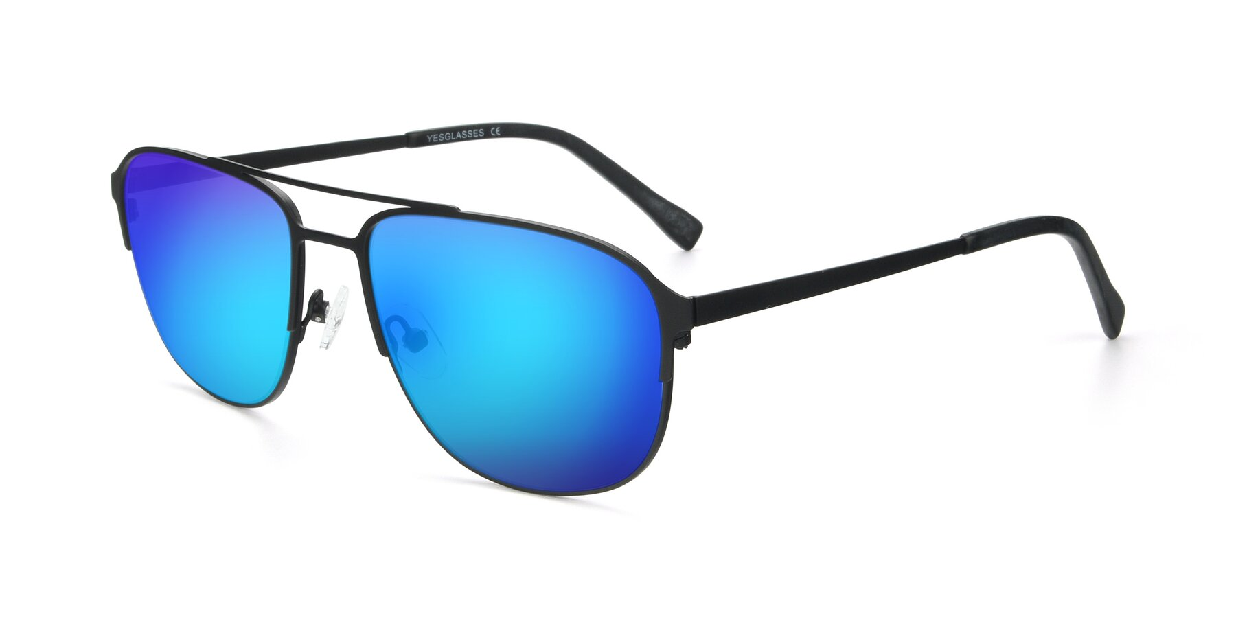 Angle of 9513 in Antique Black with Blue Mirrored Lenses